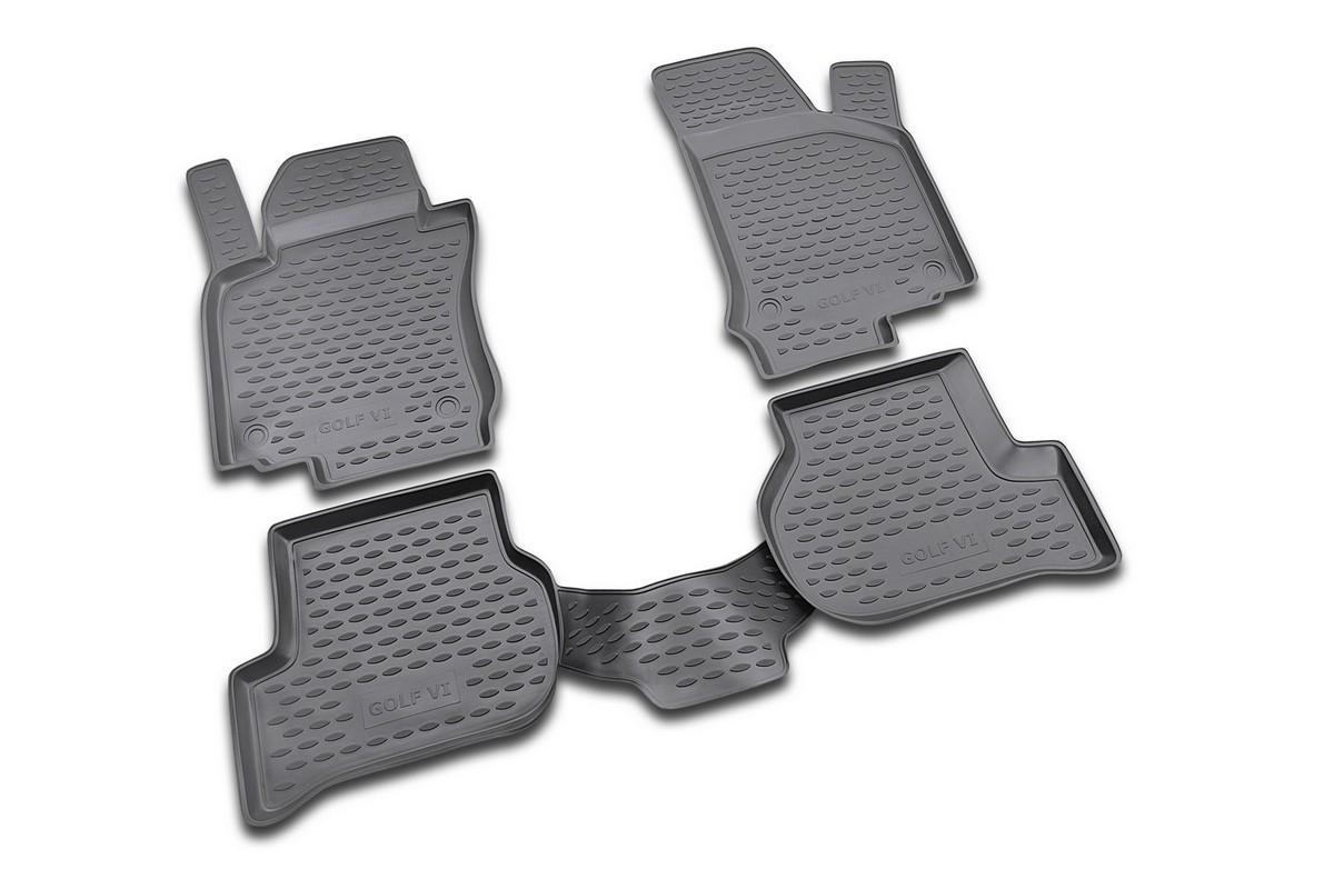 Набор автомобильных ковриков Novline-Autofamily для Volkswagen Golf VI 04/2009-, в салон, 4 шт. NLC.51.26.210khNLC.51.26.210khНабор автомобильных ковриков Novline-Autofamily, изготовленный из полиуретана, состоит из 4 ковриков, которые учитывают все особенности каждой модели автомобиля и полностью повторяют контуры пола. Полиуретановые автомобильные коврики для салона произведены из высококачественного материала, который держит форму, прочный и не пачкает обувь. Коврики в салон не только улучшат внешний вид салона вашего автомобиля, но и надежно уберегут его от пыли, грязи и сырости, а значит, защитят кузов от коррозии. Полиуретановые коврики для автомобиля гладкие, приятные и не пропускают влагу. Ковры для автомобилей надежно крепятся на полу и не скользят, что очень важно во время движения. Чистятся коврики очень просто: как при помощи автомобильного пылесоса, так и различными моющими средствами. Набор подходит для Volkswagen Golf VI с апреля 2009 года выпуска.