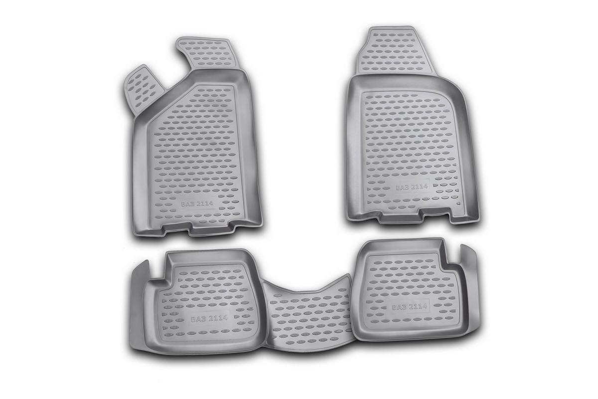 Набор автомобильных ковриков Novline-Autofamily для ВАЗ 2114, в салон, 4 шт. NLC.52.09.210VT-1520(SR)Набор автомобильных ковриков Novline-Autofamily, изготовленный из полиуретана, состоит из 4 ковриков, которые учитывают все особенности каждой модели автомобиля и полностью повторяют контуры пола. Полиуретановые автомобильные коврики для салона произведены из высококачественного материала, который держит форму, прочный и не пачкает обувь. Коврики в салон не только улучшат внешний вид салона вашего автомобиля, но и надежно уберегут его от пыли, грязи и сырости, а значит, защитят кузов от коррозии. Полиуретановые коврики для автомобиля гладкие, приятные и не пропускают влагу. Ковры для автомобилей надежно крепятся на полу и не скользят, что очень важно во время движения. Чистятся коврики очень просто: как при помощи автомобильного пылесоса, так и различными моющими средствами. Набор подходит для ВАЗ 2114.