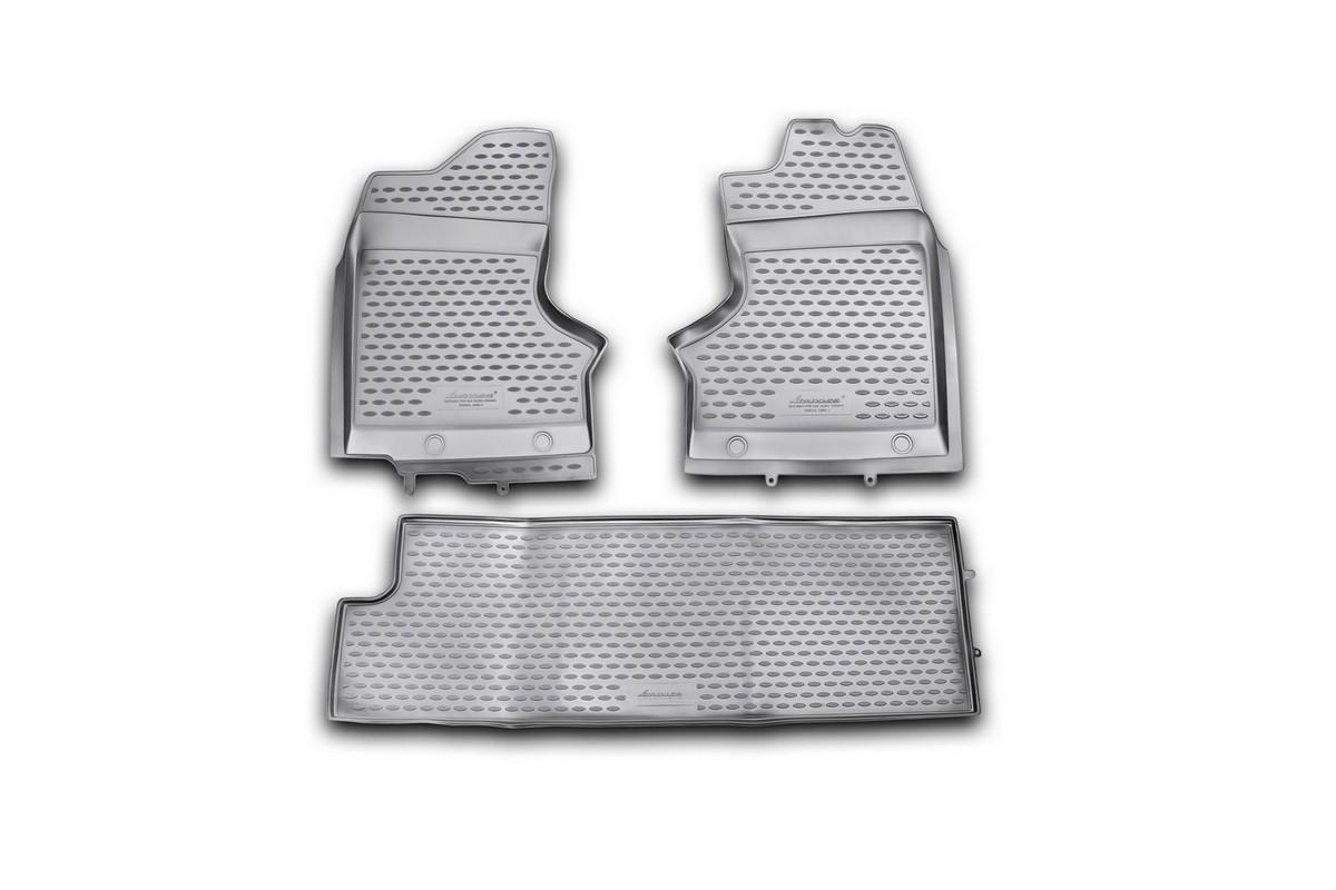 Набор автомобильных ковриков Novline-Autofamily для ГАЗ 27057 1995-, в салон, 3 штNLC.53.11.210khНабор автомобильных ковриков Novline-Autofamily, изготовленный из полиуретана, состоит из 3 ковриков, которые учитывают все особенности каждой модели автомобиля и полностью повторяют контуры пола. Полиуретановые автомобильные коврики для салона произведены из высококачественного материала, который держит форму, прочный и не пачкает обувь. Коврики в салон не только улучшат внешний вид салона вашего автомобиля, но и надежно уберегут его от пыли, грязи и сырости, а значит, защитят кузов от коррозии. Полиуретановые коврики для автомобиля гладкие, приятные и не пропускают влагу. Ковры для автомобилей надежно крепятся на полу и не скользят, что очень важно во время движения. Чистятся коврики очень просто: как при помощи автомобильного пылесоса, так и различными моющими средствами. Набор подходит для ГАЗ 27057 с 1995 года выпуска.