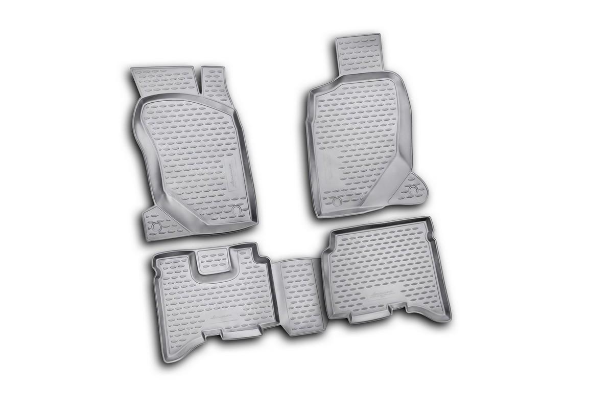 Набор автомобильных ковриков Novline-Autofamily для Great Wall Hover H3 2010-, в салон, 4 штNLC.59.09.210kНабор автомобильных ковриков Novline-Autofamily, изготовленный из полиуретана, состоит из 4 ковриков, которые учитывают все особенности каждой модели автомобиля и полностью повторяют контуры пола. Полиуретановые автомобильные коврики для салона произведены из высококачественного материала, который держит форму, прочный и не пачкает обувь. Коврики в салон не только улучшат внешний вид салона вашего автомобиля, но и надежно уберегут его от пыли, грязи и сырости, а значит, защитят кузов от коррозии. Полиуретановые коврики для автомобиля гладкие, приятные и не пропускают влагу. Ковры для автомобилей надежно крепятся на полу и не скользят, что очень важно во время движения. Чистятся коврики очень просто: как при помощи автомобильного пылесоса, так и различными моющими средствами. Набор подходит для Great Wall Hover H3 с 2010 года выпуска.