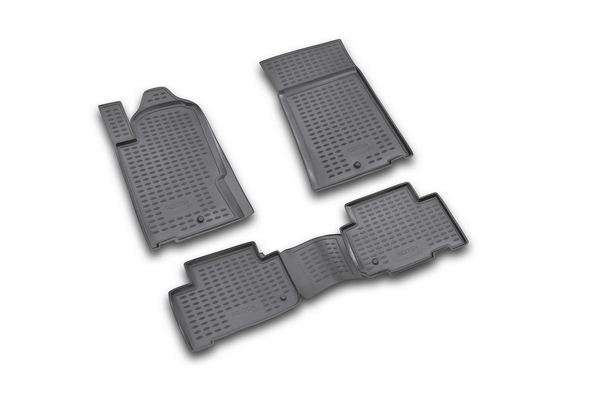 Набор автомобильных ковриков Novline-Autofamily для SsangYong Rexton 2006-, в салон, 4 шт. NLC.61.08.210VT-1520(SR)Набор автомобильных ковриков Novline-Autofamily, изготовленный из полиуретана, состоит из 4 ковриков, которые учитывают все особенности каждой модели автомобиля и полностью повторяют контуры пола. Полиуретановые автомобильные коврики для салона произведены из высококачественного материала, который держит форму, прочный и не пачкает обувь. Коврики в салон не только улучшат внешний вид салона вашего автомобиля, но и надежно уберегут его от пыли, грязи и сырости, а значит, защитят кузов от коррозии. Полиуретановые коврики для автомобиля гладкие, приятные и не пропускают влагу. Ковры для автомобилей надежно крепятся на полу и не скользят, что очень важно во время движения. Чистятся коврики очень просто: как при помощи автомобильного пылесоса, так и различными моющими средствами. Набор подходит для SsangYong Rexton с 2006 года выпуска.