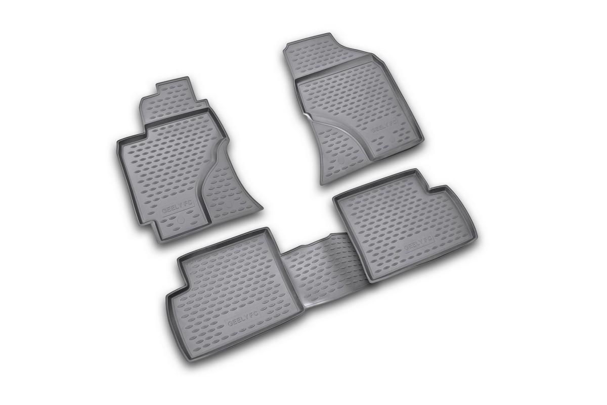 Набор автомобильных ковриков Novline-Autofamily для Geely FC 2006-2012, в салон, 4 шт. NLC.75.03.210kDFS-524Набор автомобильных ковриков Novline-Autofamily, изготовленный из полиуретана, состоит из 4 ковриков, которые учитывают все особенности каждой модели автомобиля и полностью повторяют контуры пола. Полиуретановые автомобильные коврики для салона произведены из высококачественного материала, который держит форму, прочный и не пачкает обувь. Коврики в салон не только улучшат внешний вид салона вашего автомобиля, но и надежно уберегут его от пыли, грязи и сырости, а значит, защитят кузов от коррозии. Полиуретановые коврики для автомобиля гладкие, приятные и не пропускают влагу. Ковры для автомобилей надежно крепятся на полу и не скользят, что очень важно во время движения. Чистятся коврики очень просто: как при помощи автомобильного пылесоса, так и различными моющими средствами. Набор подходит для Geely FC 2006-2012 годов выпуска.