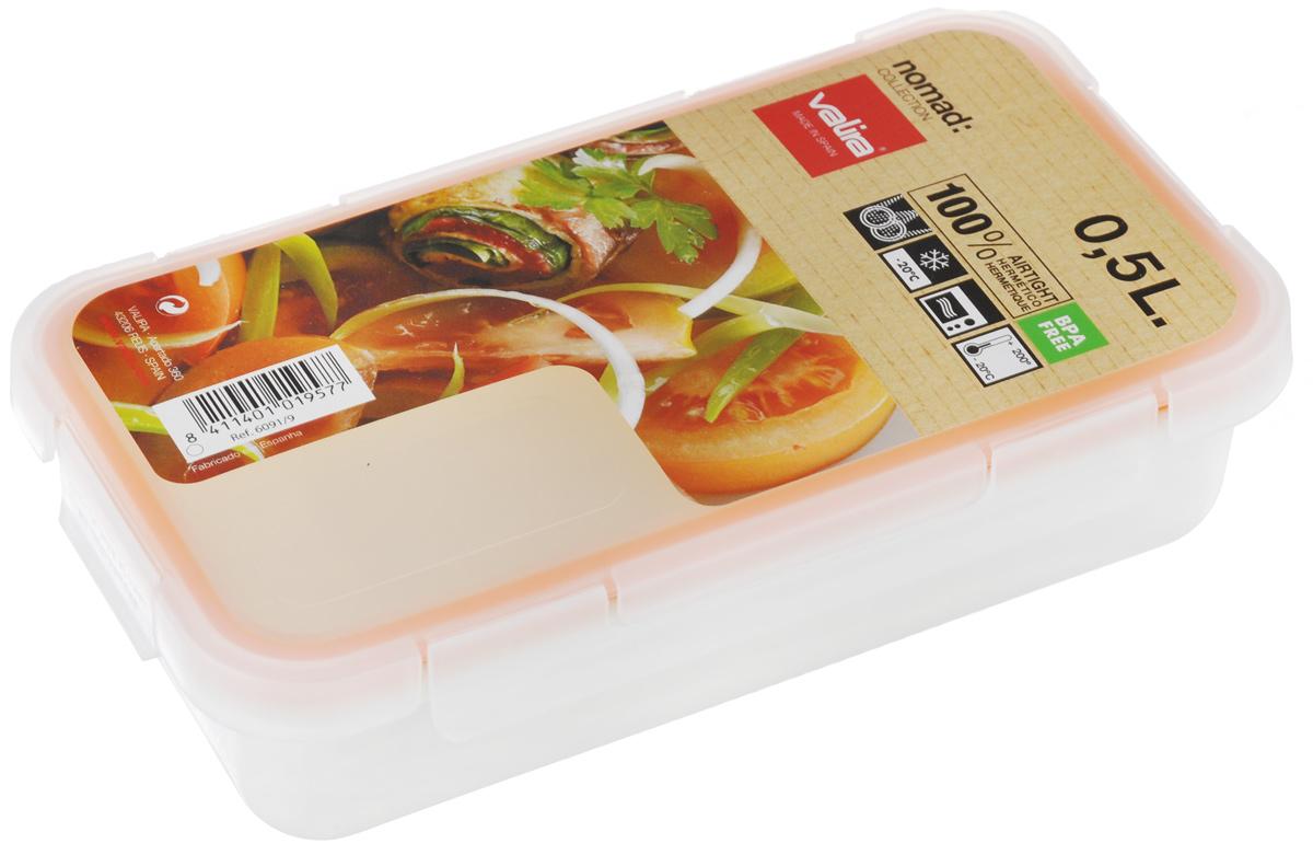 Контейнер пищевой Valira Nomad, цвет: белый, 0,5 л6091/9Пищевой контейнер Valira Nomad - это надежный и удобный пищевой контейнер, выполненный из керамического пластика. Данный материал не содержит полипропилена, BPA и фталатов, что очень важно для здоровья. Контейнер оснащен крышкой с силиконовой прослойкой и защелками с четырех сторон. Полностью герметичен и водонепроницаем, отлично подходит даже для переноски жидких блюд. Не впитывает запахов и не окрашивается в цвет пищи, материал изделия приятен на ощупь. Контейнер подходит для ежедневного использования на работе или учебе, а также для отдыха на природе. Благодаря компактным размерам его удобно взять с собой в поездку или путешествие. Контейнер можно использовать для разогревания пищи в микроволновой печи, а также для замораживания продуктов до -20°С. Легко моется в посудомоечной машине.