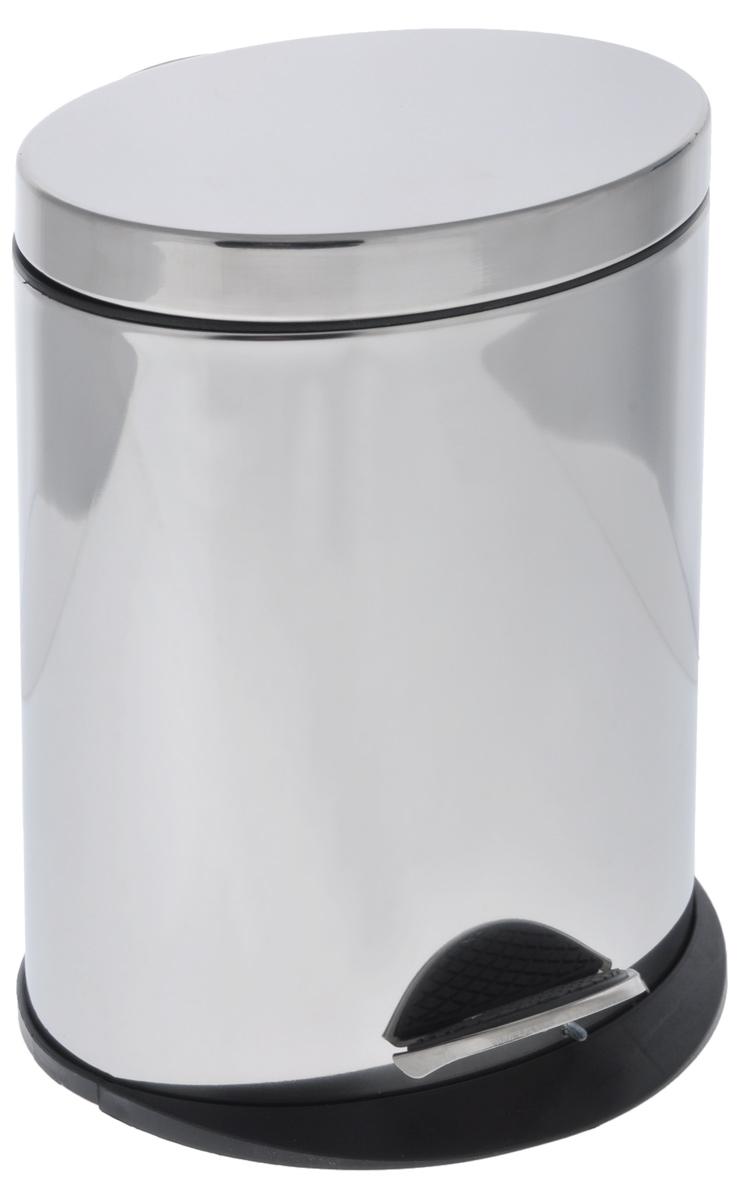 Ведро для мусора Art Moon Saturn, с педалью, 5 л691038Овальное ведро для мусора Art Moon Saturn, выполненное из нержавеющей стали с зеркальной поверхностью, поможет поддерживать дома чистоту. Ведро оснащено педалью, с помощью которой можно открыть крышку. Закрывается крышка бесшумно, плотно прилегает, предотвращая распространение запаха. Сбоку имеется металлическая ручка, которая фиксирует крышку в открытом положении. Ведро снабжено внутренним пластиковым ведром с удобной металлической ручкой для переноски. Нескользящая пластиковая основа ведра предотвращает повреждение пола. Благодаря стильному дизайну и качественному исполнению, ведро прекрасно впишется в интерьер помещения. Подходит для кухни, ванны, туалета, офисных помещений.