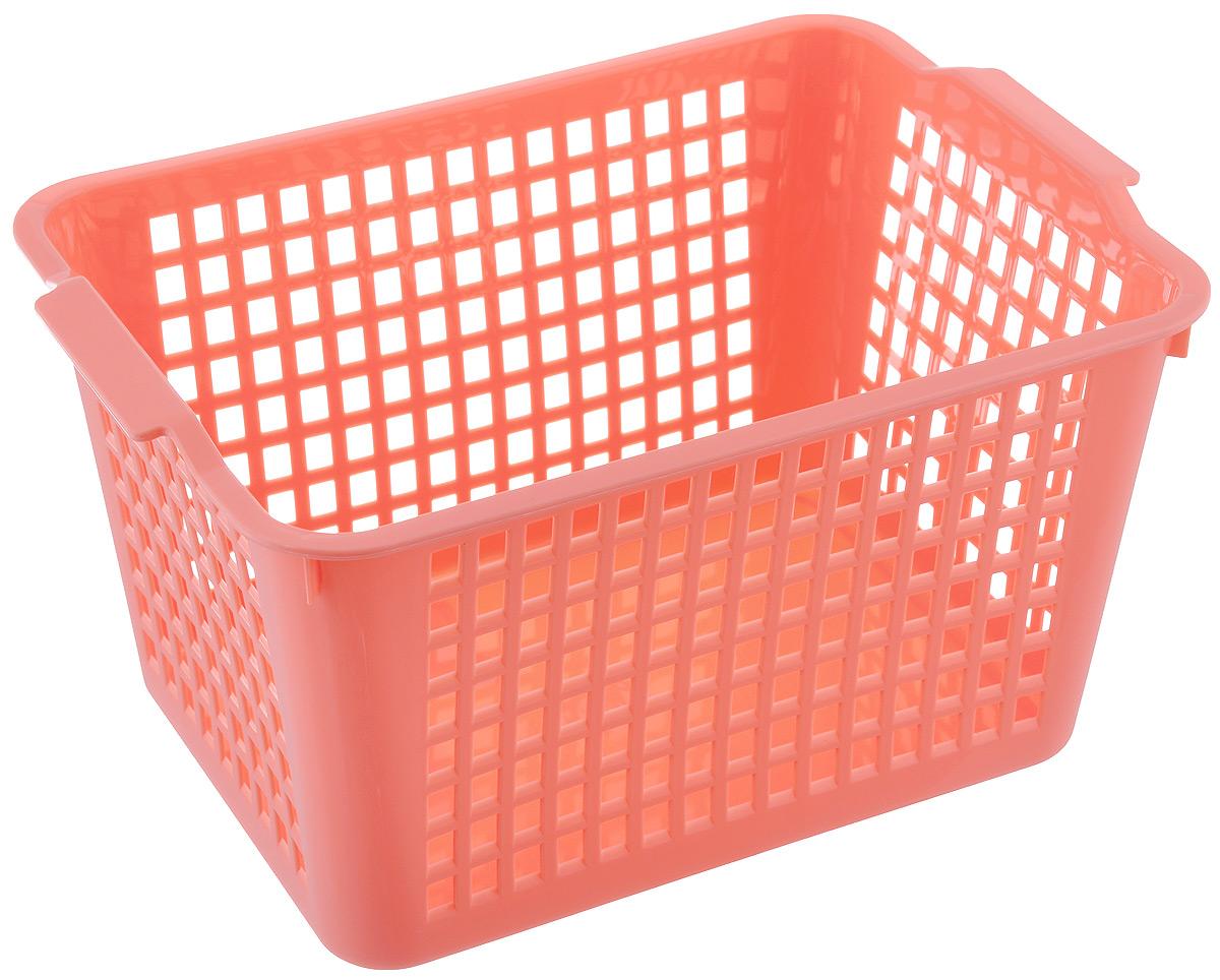 Корзинка Econova, цвет: коралловый, 27 х 19 х 14,5 см718341Корзинка Econova, изготовленная из высококачественного прочного пластика, предназначена для хранения мелочей в ванной, на кухне, даче или гараже. Изделие оснащено двумя удобными ручками. Это легкая корзина со сплошным дном, жесткой кромкой и небольшими отверстиями позволяет хранить мелкие вещи, исключая возможность их потери.