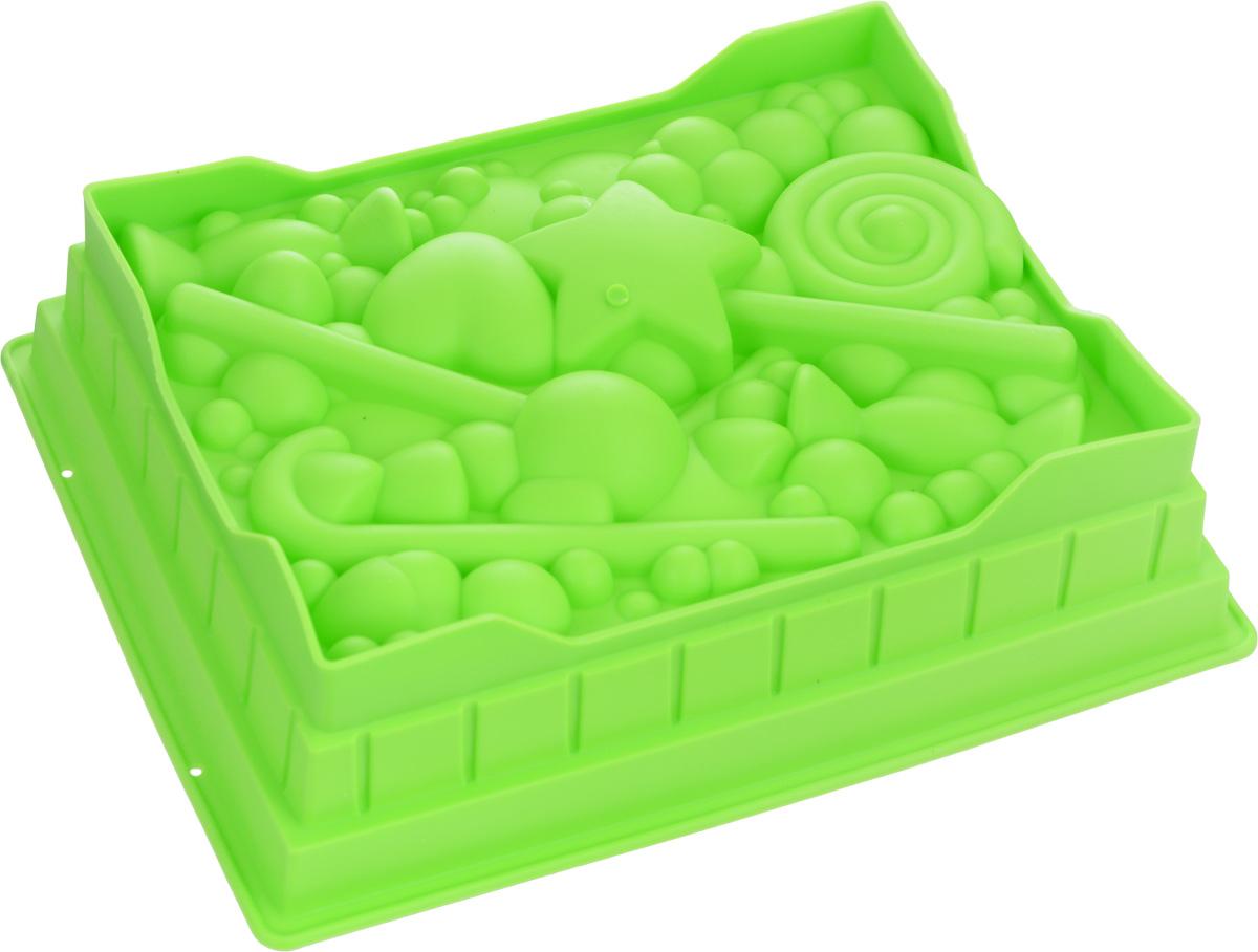 Форма для выпечки Mayer & Boch, силиконовая, цвет: салатовый, 27 смх 22 х 7 см24623_салатовыйКвадратная форма для выпечки Mayer & Boch изготовлена из силикона в виде различных сладостей и фигурок. Силикон - материал, который выдерживает температуру от -40°С до +230°С. Изделия из силикона очень удобны в использовании: пища в них не пригорает и не прилипает к стенкам, форма легко моется. Приготовленное блюдо можно очень просто вытащить, просто перевернув форму, при этом внешний вид блюда не нарушится. Изделие обладает эластичными свойствами: складывается без изломов, восстанавливает свою первоначальную форму. Порадуйте своих родных и близких любимой выпечкой в необычном исполнении. Подходит для приготовления в микроволновой печи и духовом шкафу при нагревании до +230°С; для замораживания до -40°. Можно мыть в посудомоечной машине.