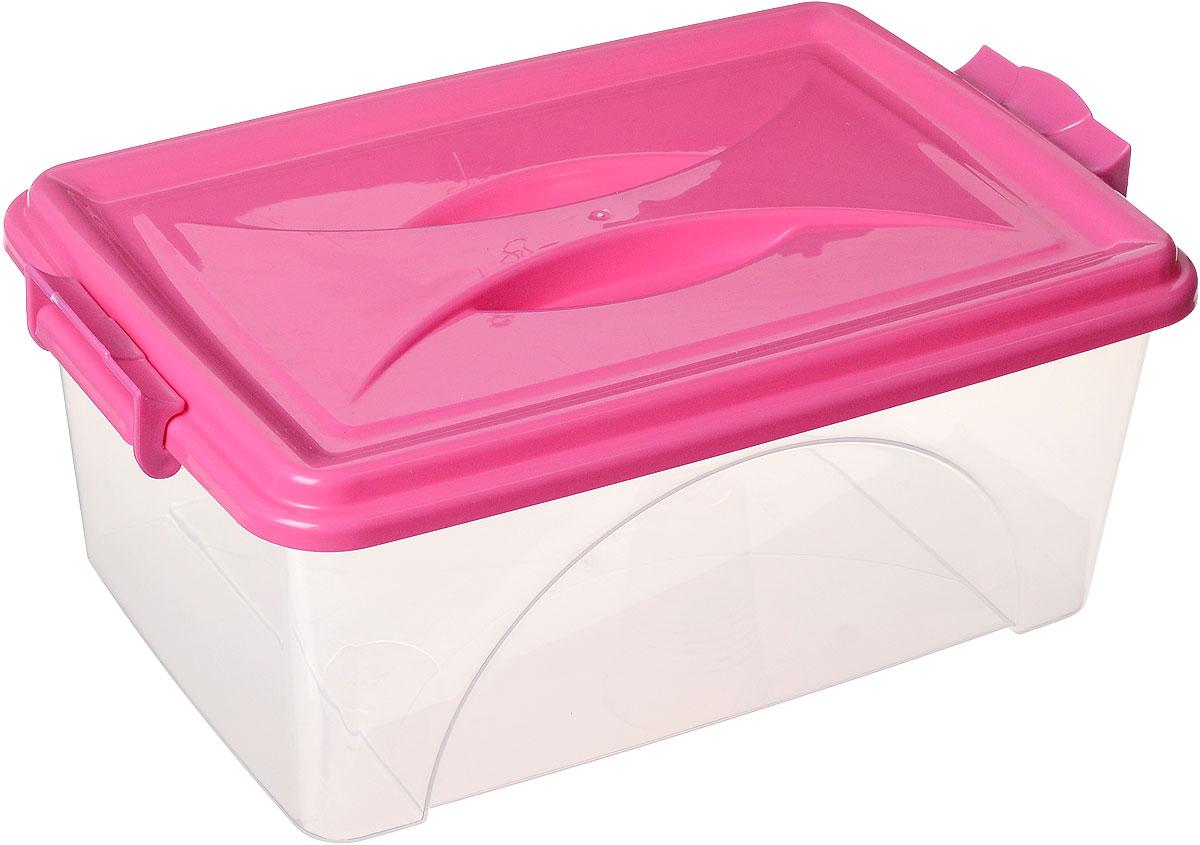 Контейнер Альтернатива, цвет: прозрачный, фуксия, 11,5 лМ425_прозрачный, фуксияКонтейнер Альтернатива выполнен из прочного пластика. Он предназначен для хранения различных мелких вещей. Крышка легко открывается и плотно закрывается. Прозрачные стенки позволяют видеть содержимое. По бокам предусмотрены две удобные ручки, с помощью которых контейнер закрывается. Контейнер поможет хранить все в одном месте, а также защитить вещи от пыли, грязи и влаги. Размер контейнера (с учетом крышки): 42 см х 27 см х 17,5 см.