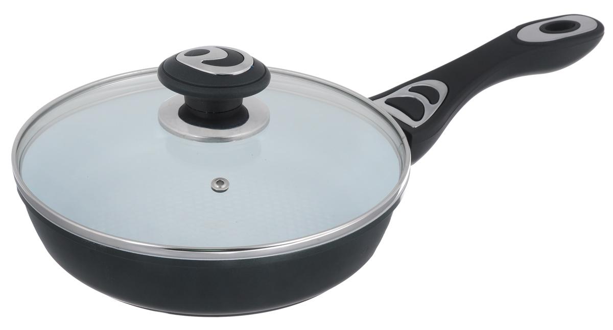 Сковорода Bohmann с крышкой, с керамическим покрытием, цвет: темно-зеленый. Диаметр 22 см. 7512BHCM000001326Сковорода Bohmann изготовлена из алюминия с износоустойчивым керамическим покрытием. Благодаря керамическому покрытию пища не пригорает и не прилипает к поверхности сковороды, что позволяет готовить с минимальным количеством масла. Кроме того, такое покрытие абсолютно безопасно для здоровья человека, так как не содержит вредной примеси PTFE. Керамическое покрытие устойчиво к высоким температурам, резким перепадам температур и коррозии. Покрытие устойчиво к царапинам и имеет водоотталкивающий эффект. Рифленая внутренняя поверхность сковороды в виде сот обеспечивает быстрое и легкое приготовление. Внешнее покрытие - жаростойкий лак, который сохраняет цвет долгое время и обладает жироотталкивающими свойствами. Сковорода быстро разогревается, распределяя тепло по всей поверхности, что позволяет готовить в энергосберегающем режиме, значительно сокращая время, проведенное у плиты. Сковорода оснащена удобной ручкой, выполненной из бакелита с прорезиненным покрытием. Такая ручка не нагревается в процессе готовки и обеспечивает надежный хват. Крышка изготовлена из жаропрочного стекла, оснащена ручкой, отверстием для выпуска пара и металлическим ободом. Благодаря такой крышке можно следить за приготовлением пищи без потери тепла. Подходит для всех типов плит, включая индукционные. Можно мыть в посудомоечной машине. Высота стенки: 5 см. Толщина стенки: 4 мм. Толщина дна: 5 мм. Длина ручки: 18 см.