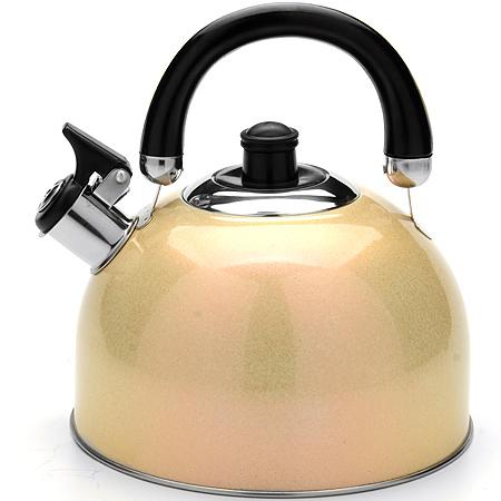Чайник Mayer & Boch Modern со свистком, цвет: золотистый, 2,7 л. 2359523595_золотистыйЧайник Mayer & Boch Modern выполнен из высококачественной нержавеющей стали, что обеспечивает долговечность использования. Внешнее цветное эмалевое покрытие придает приятный внешний вид. Подвижная ручка из бакелита делает использование чайника очень удобным и безопасным. Чайник снабжен свистком и устройством для открывания носика. Можно мыть в посудомоечной машине. Пригоден для всех видов плит, включая индукционные. Высота чайника (без учета крышки и ручки): 11,5 см. Диаметр основания: 20 см.