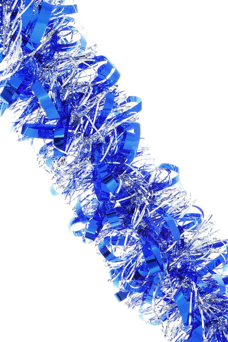 Мишура новогодняя Sima-land, цвет: серебристый, синий, диаметр 8 см, длина 200 см. 702580702580_серебристый,синийМишура новогодняя Sima-land, выполненная из двухцветной фольги, поможет вам украсить свой дом к предстоящим праздникам. Мишура армирована, то есть имеет проволоку внутри и способна сохранять приданную ей форму. Новогодняя елка с таким украшением станет еще наряднее. Новогодней мишурой можно украсить все, что угодно - елку, квартиру, дачу, офис - как внутри, так и снаружи. Можно сложить новогодние поздравления, буквы и цифры, мишурой можно украсить и дополнить гирлянды, можно выделить дверные колонны, оплести дверные проемы. Коллекция декоративных украшений из серии Зимнее волшебство принесет в ваш дом ни с чем не сравнимое ощущение праздника! Создайте в своем доме атмосферу тепла, веселья и радости, украшая его всей семьей.