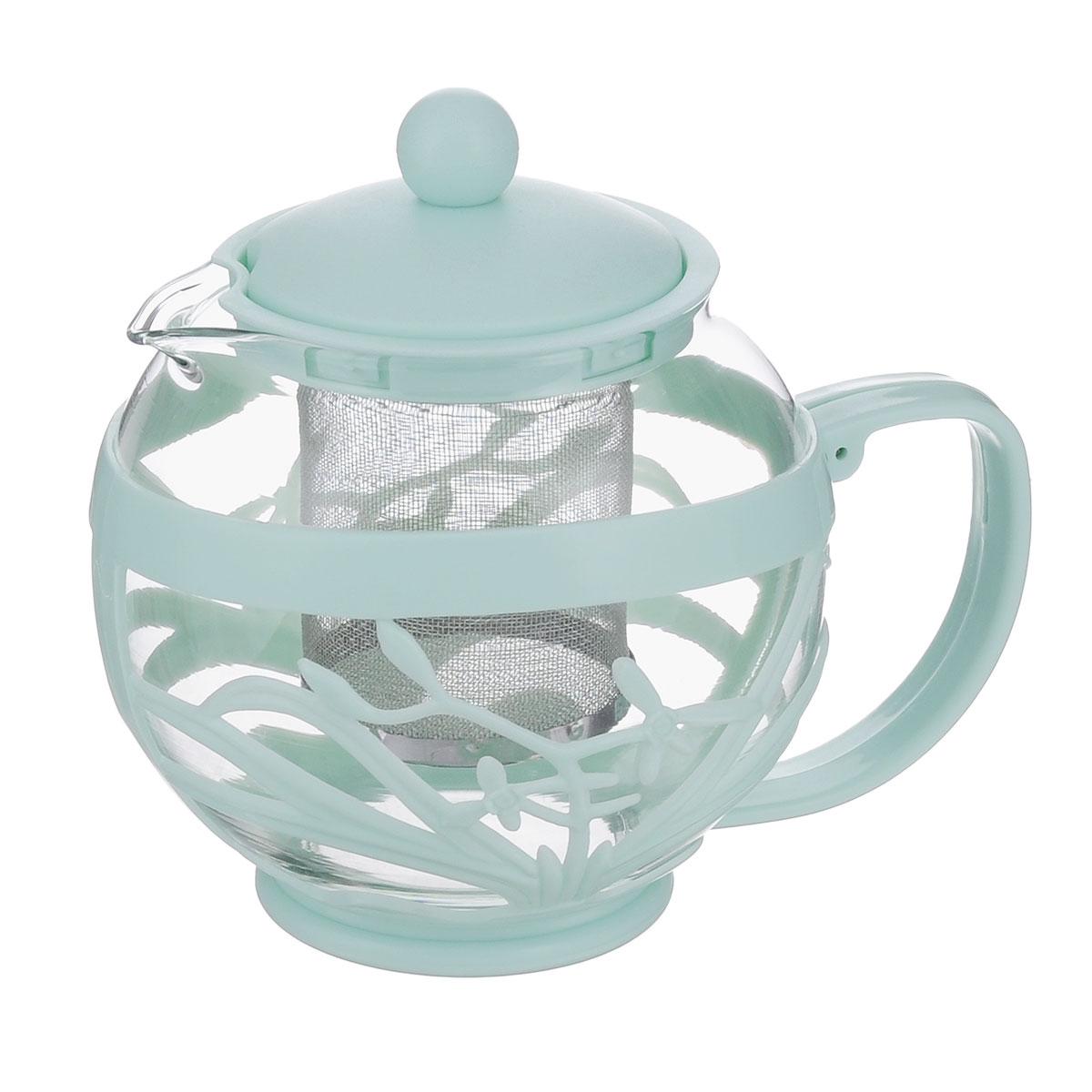 Чайник заварочный Menu Мелисса, с фильтром, цвет: прозрачный, мятный, 750 млMLS-75_мятныйЧайник Menu Мелисса изготовлен из прочного стекла и пластика. Он прекрасно подойдет для заваривания чая и травяных напитков. Классический стиль и оптимальный объем делают его удобным и оригинальным аксессуаром. Изделие имеет удлиненный металлический фильтр, который обеспечивает высокое качество фильтрации напитка и позволяет заварить чай даже при небольшом уровне воды. Ручка чайника не нагревается и обеспечивает безопасность использования. Нельзя мыть в посудомоечной машине. Диаметр чайника (по верхнему краю): 8 см. Высота чайника (без учета крышки): 11 см. Размер фильтра: 6 х 6 х 7,2 см.