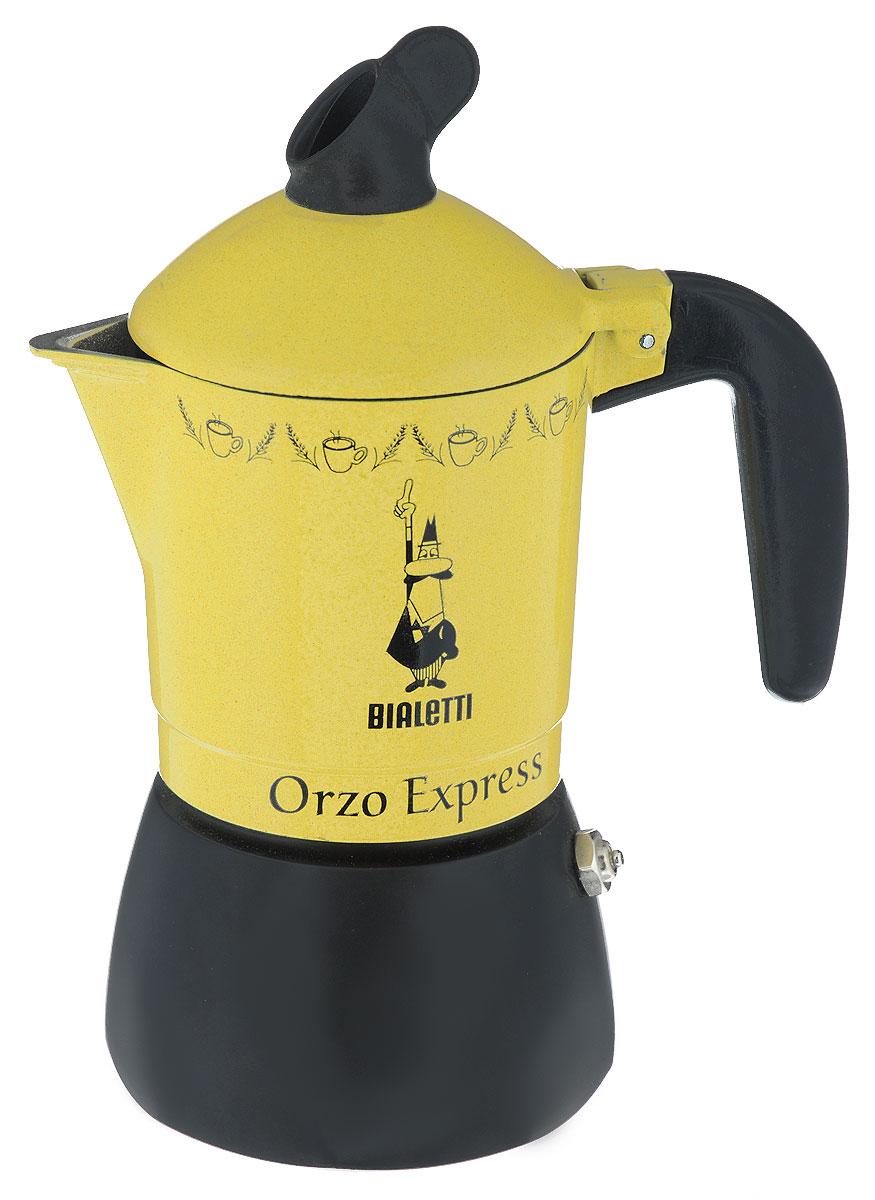 Кофеварка гейзерная Bialetti Orzo Express Gialla MR, для желудевого кофе, на 2 чашки2328Компактная гейзерная кофеварка Bialetti Orzo Express Gialla MR изготовлена из высококачественного алюминия. Объема кофе хватает на 2 чашки. Изделие оснащено удобной ручкой из бакелита. Принцип работы такой гейзерной кофеварки - кофе заваривается путем многократного прохождения горячей воды или пара через слой молотого кофе. Удобство кофеварки в том, что вся кофейная гуща остается во внутренней емкости. Гейзерные кофеварки пользуются большой популярностью благодаря изысканному аромату. Кофе получается крепкий и насыщенный. Теперь и дома вы сможете насладиться великолепным эспрессо. Подходит для газовых, электрических и стеклокерамических плит. Нельзя мыть в посудомоечной машине. Высота (с учетом крышки): 19 см.