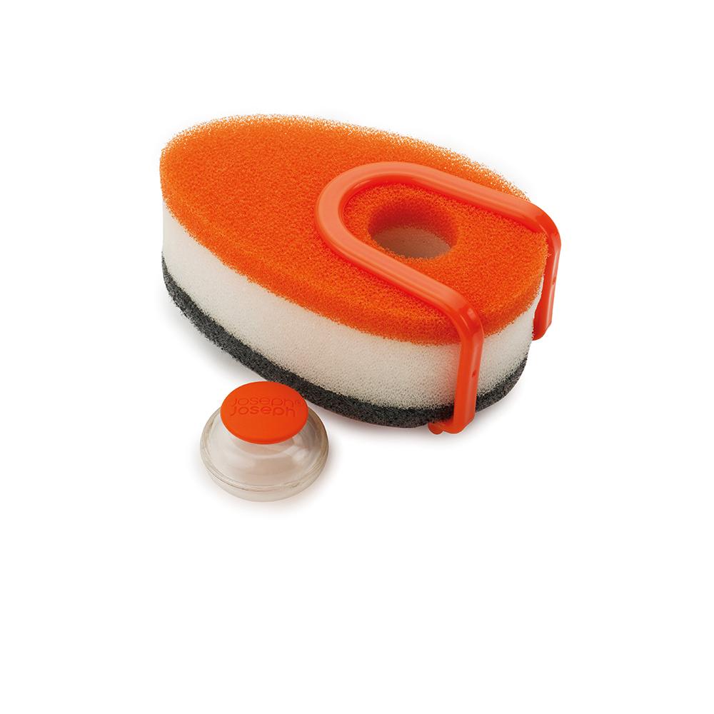 Губка с капсулой для моющего стредства Soapy Sponge оранжевая. 8507385073Во время мытья посуды приходится постоянно добавлять моющее средство на губку, что отнимает время, а бутылка со средством занимает рабочее пространство у вашей раковины. Высокоэффективная универсальная губка с отделением для капсулы с моющим средством оптимальным образом расходует средство во время мытья посуды.Намочите губку с капсулой в тёплой воде и слегда сдавите для подачи жидкого средства. Губка имеет трёхслойную текстуру для чистки любых поверхностей и специальное крепление для раковины, чтобы ваша кухня была ещё более чистой и удобной. После использования удалите капсулу и промойте губку в чистой воде. Жёсткая сторона губки не подходит для деликатных поверхностей. В комплект входит: 3 губки, одна капсула для моющего средства и одно крепление на раковину.