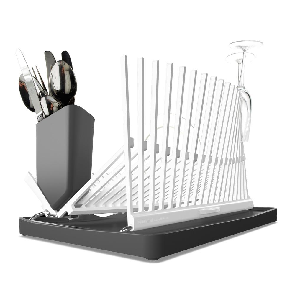 Сушилка Forminimal. FDR001FDR001Подставка, напоминающая архитектурные силуэты, одинаково стильная и функциональная. Вода с посуды скапливается в специальном поддоне, который легко чистится. Вертикальные держатели подойдут как для хрупких стаканов, так и для тяжёлых сковород. Можно мыть всю конструкцию в посудомоечной машине.