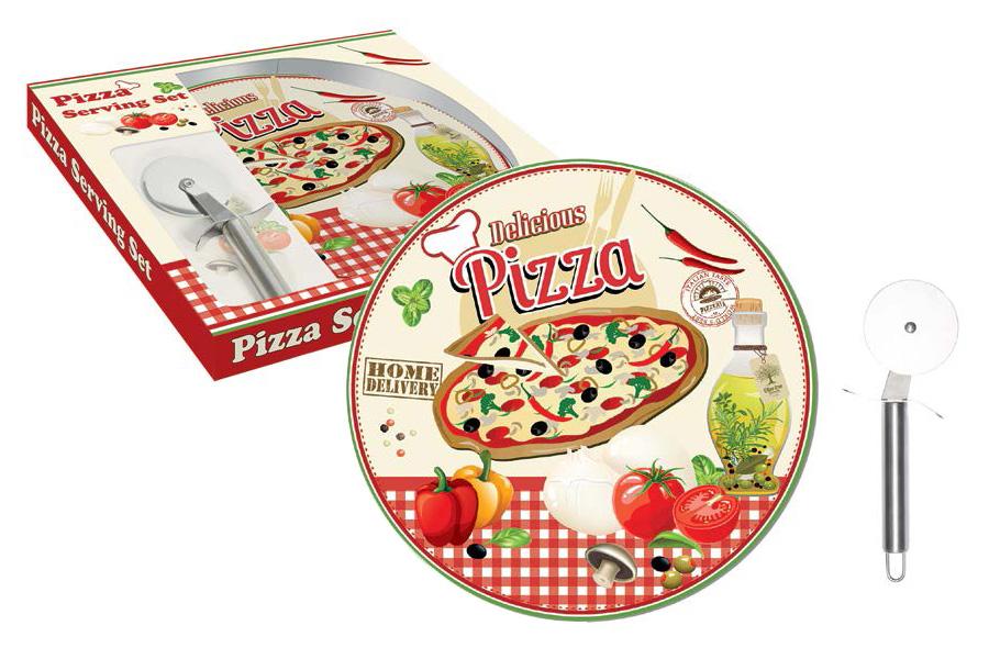 Набор для пиццы Nuova R2S Подарки, 2 предметаR2S467/PIZ-ALНабор для пиццы Nuova R2S Подарки состоит из тарелки, выполненной из фарфора, и специального ножа для пиццы. Тарелка имеет плоскую форму, что идеально подходит для сервировки пиццы, и оформлена красочным рисунком. Нож специальной круглой формы очень удобен для разрезания пиццы на порционные кусочки. Такой набор будет прекрасным подарком любителю пиццы. Диаметр тарелки: 35 см.