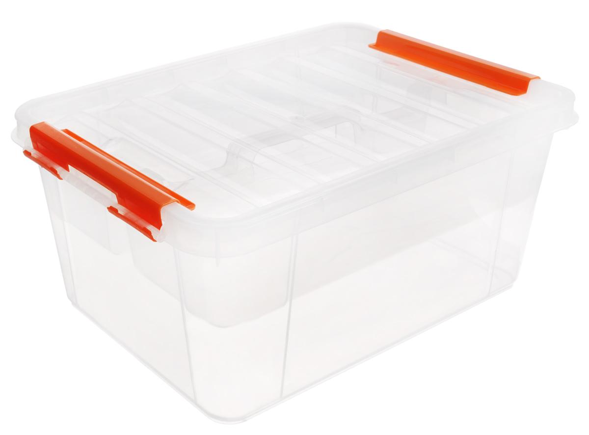 Ящик Полимербыт Профи, с вкладышем, цвет: прозрачный, оранжевый, 15 лС50801_прозрачный, оранжевыйВместительный ящик Полимербыт Профи выполнен из прозрачного пластика и предназначен для хранения различных предметов. Ящик оснащен удобной крышкой с рельефной поверхностью. Внутри ящика имеется съемный вкладыш с двумя глубокими секциями. Контейнер снабжен двумя фиксаторами по бокам, придающими дополнительную надежность закрывания крышки. Вместительный контейнер позволит сохранить различные нужные вещи в порядке, а герметичная крышка предотвратит случайное открывание, защитит содержимое от пыли и грязи. Размер отделений: 29 см х 37 см х 18 см; 29 см х 37 см х 9,5 см. Размер секций: 12,5 см х 36 см х 9,5 см.