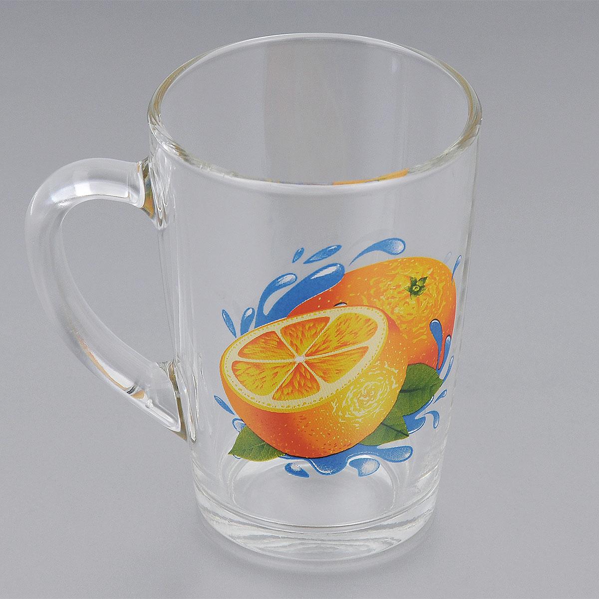 Кружка ОСЗ Апельсин, 300 мл07c1334 ДЗ АпККружка ОСЗ Апельсин выполнена из высококачественного стекла. Внешние стенки оформлены изображением апельсинов. Такая кружка станет неизменным атрибутом чаепития и порадует вас классическим лаконичным дизайном и практичностью.