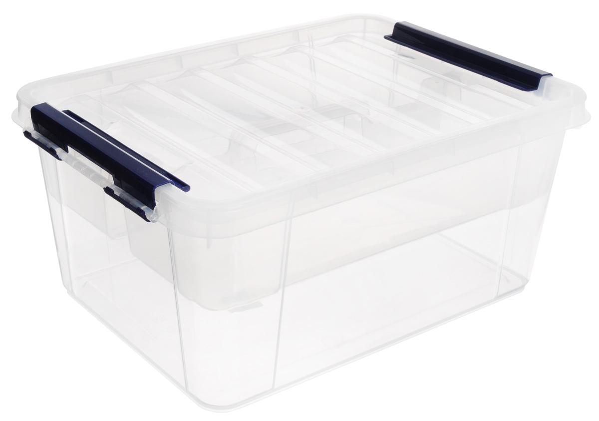 Ящик Полимербыт Профи, с вкладышем, цвет: прозрачный, синий, 15 лС50801_прозрачн/синийВместительный ящик Полимербыт Профи выполнен из прозрачного пластика и предназначен для хранения различных предметов. Ящик оснащен удобной крышкой с рельефной поверхностью. Внутри ящика имеется съемный вкладыш с двумя глубокими секциями. Контейнер снабжен двумя фиксаторами по бокам, придающими дополнительную надежность закрывания крышки. Вместительный контейнер позволит сохранить различные нужные вещи в порядке, а герметичная крышка предотвратит случайное открывание, защитит содержимое от пыли и грязи. Размер отделений: 29 см х 37 см х 18 см; 29 см х 37 см х 9,5 см. Размер секций: 12,5 см х 36 см х 9,5 см.