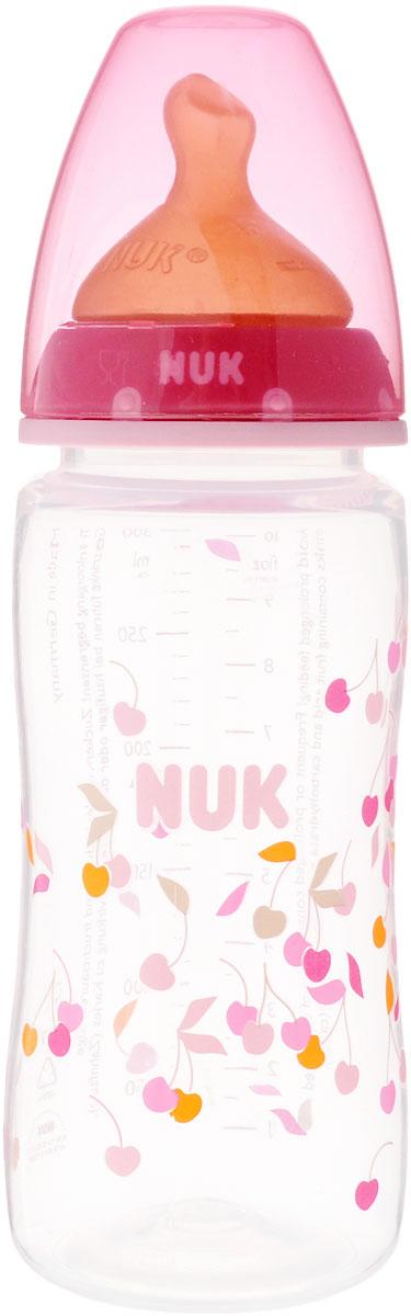 NUK Бутылочка для кормления First Choice c латексной соской от 0 до 6 месяцев 300 мл цвет розовый