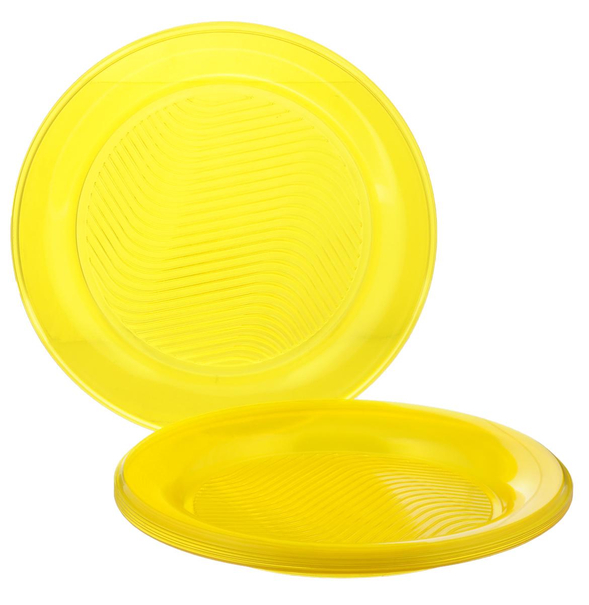 Набор одноразовых тарелок Bibo Super Party, цвет: желтый, диаметр 20,5 см, 10 штПОС08988Набор Bibo Super Party состоит из 10 круглых тарелок, выполненных из высококачественного пластика и предназначенных для одноразового использования. Изделия декорированы рельефным узором. Одноразовые тарелки будут незаменимы при поездках на природу, пикниках и других мероприятиях. Они не займут много места, легки и самое главное - после использования их не надо мыть. Диаметр тарелки: 20,5 см. Высота тарелки: 1,5 см.