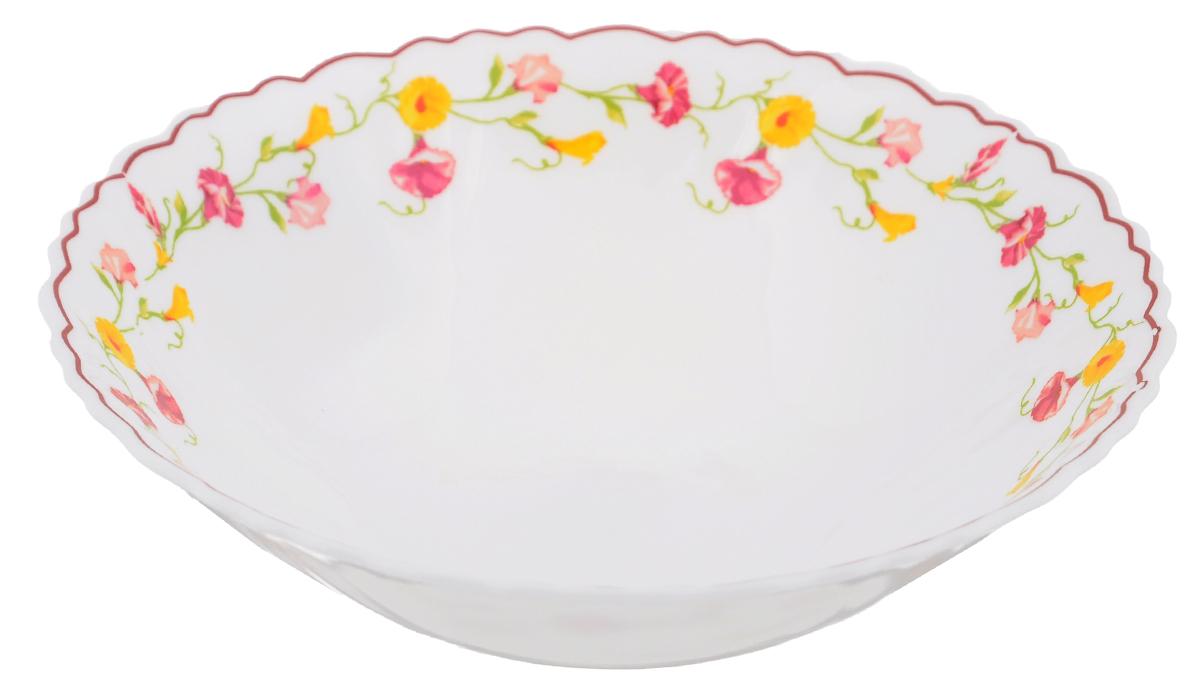 Тарелка суповая Эльзас, диаметр 19 смOLHDW-75/308Суповая тарелка Chinbull Эльзас, выполненная из высококачественной стеклокерамики, оформлена изображением цветов. Изящный дизайн придется по вкусу и ценителям классики, и тем, кто предпочитает утонченность. Тарелка Chinbull Эльзас идеально подойдет для сервировки стола и станет отличным подарком к любому празднику. Диаметр (по верхнему краю): 19 см. Высота стенки: 5,5 см.