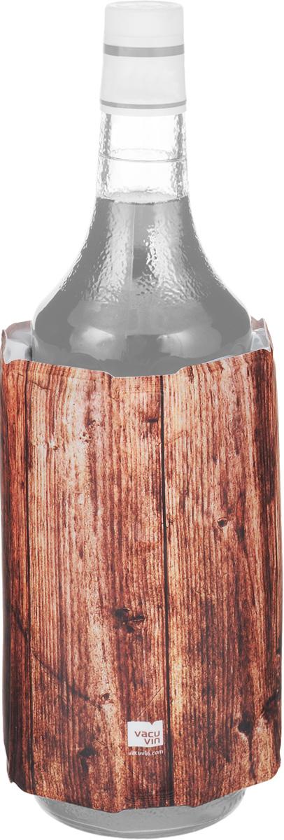 Охладительная рубашка VacuVin Rapid Ice для вина, 0,75 л. 3882560638825606Оригинальная охладительная рубашка для вина VacuVin Rapid Ice представляет собой очень холодный мягкий футляр, позволяющий в среднем за 5 минут охладить бутылку вина емкостью 0,75 л от комнатной температуры до необходимой и поддерживать ее несколько часов. Охладительная рубашка украшена под дерево и выполнена в классическом стиле. Вы просто помещаете охладительную рубашку в морозилку, а когда вам требуется быстро охладить бутылку вина, вы ее достаете и одеваете на бутылку, и вино остается холодным в течение нескольких часов. Это свойство достигается благодаря нетоксичному гелю, содержащемуся внутри рубашки. Данное изделие может использоваться сотни раз и не трескается под воздействием низкой температуры. Высота охладительной рубашки: 17,5 см. Диаметр охладительной рубашки: 11 см.