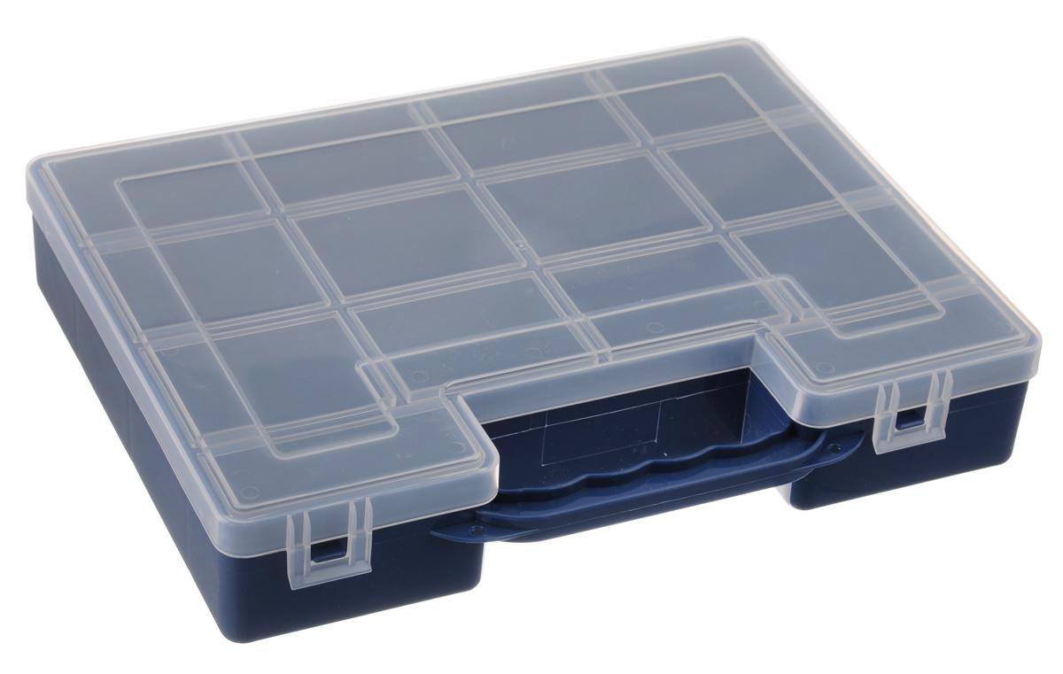 Органайзер для инструментов Idea, цвет: синий, 27,2 см х 21,7 см х 5 смМ 2955_синийОрганайзер Idea изготовлен из высококачественного прочного пластика и предназначен для хранения и переноски инструментов. Внутри - 14 прямоугольных секций разной формы. Органайзер надежно закрывается при помощи пластмассовых защелок. Крышка выполнена из прозрачного пластика, что позволяет видеть содержимое. Размеры секций: 12 секций: Размер: 6,6 см х 5,3 см х 4,7 см; 2 секции: Размер: 8,1 см х 3,3 см х 4,7 см.