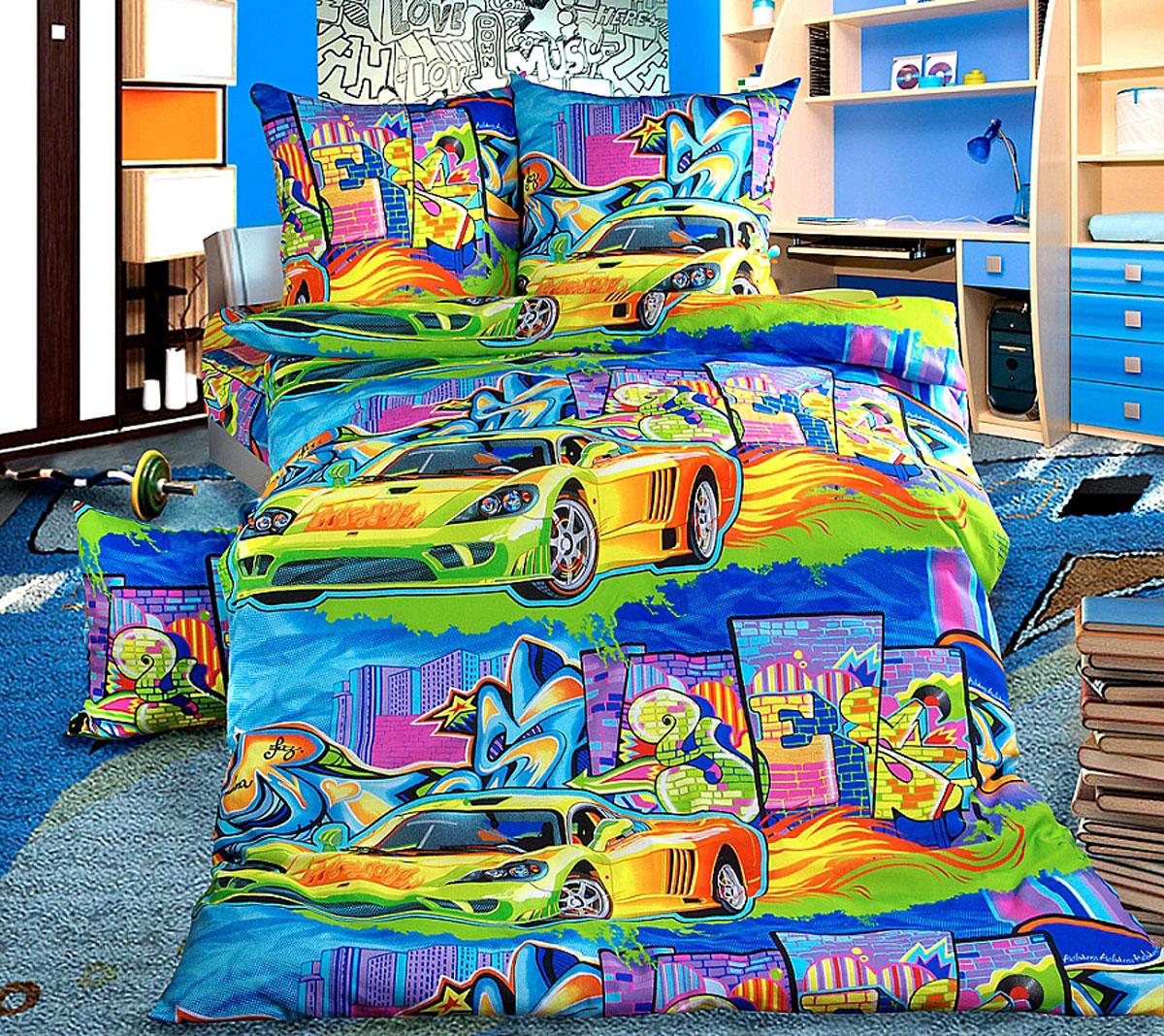ТексДизайн Комплект детского постельного белья Граффити 1,5-спальный1100АКомплект детского постельного белья Граффити, состоящий из двух наволочек, простыни и пододеяльника, выполнен из прочной бязи. Комплект постельного белья украшен изображениями яркого граффити на фоне городских многоэтажек и голубого неба. Сегодня компания Текс-Дизайн является крупнейшим поставщиком эксклюзивной набивной бязи. Вся ткань изготовлена из 100% хлопка. Бязь - хлопчатобумажная плотная ткань полотняного переплетения. Отличается прочностью и стойкостью к многочисленным стиркам. Бязь считается одной из наиболее подходящих тканей, для производства постельного белья и пользуется в России большим спросом. Фирменная продукция отличается оригинальным дизайном, высокой прочностью и долговечностью. Такой комплект идеально подойдет для кроватки вашего малыша. На нем ребенок будет спать здоровым и крепким сном.