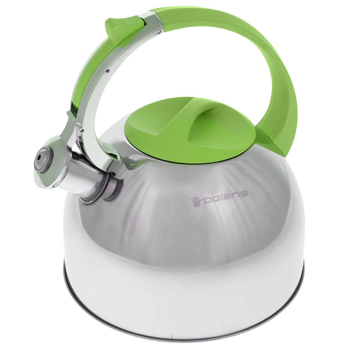 Чайник Polaris Sound со свистком, цвет: салатовый, 3 лSound-3LЧайник Polaris Sound изготовлен из высококачественной нержавеющей стали 18/10. Съемная крышка позволяет легко наполнить чайник водой и обеспечить доступ для мытья. Чайник оповещает о вскипании мелодичным свистом. Клапан на носике открывается нажатием кнопки на ручке. Эргономичная ручка выполнена из бакелита с покрытием Soft touch, не нагревается и не скользит в руке. Зеркальная полировка придает посуде эстетичный вид. Подходит для всех типов плит, в том числе для индукционных. Высота стенок чайника: 14 см. Высота чайника (с учетом ручки): 24,5 см.