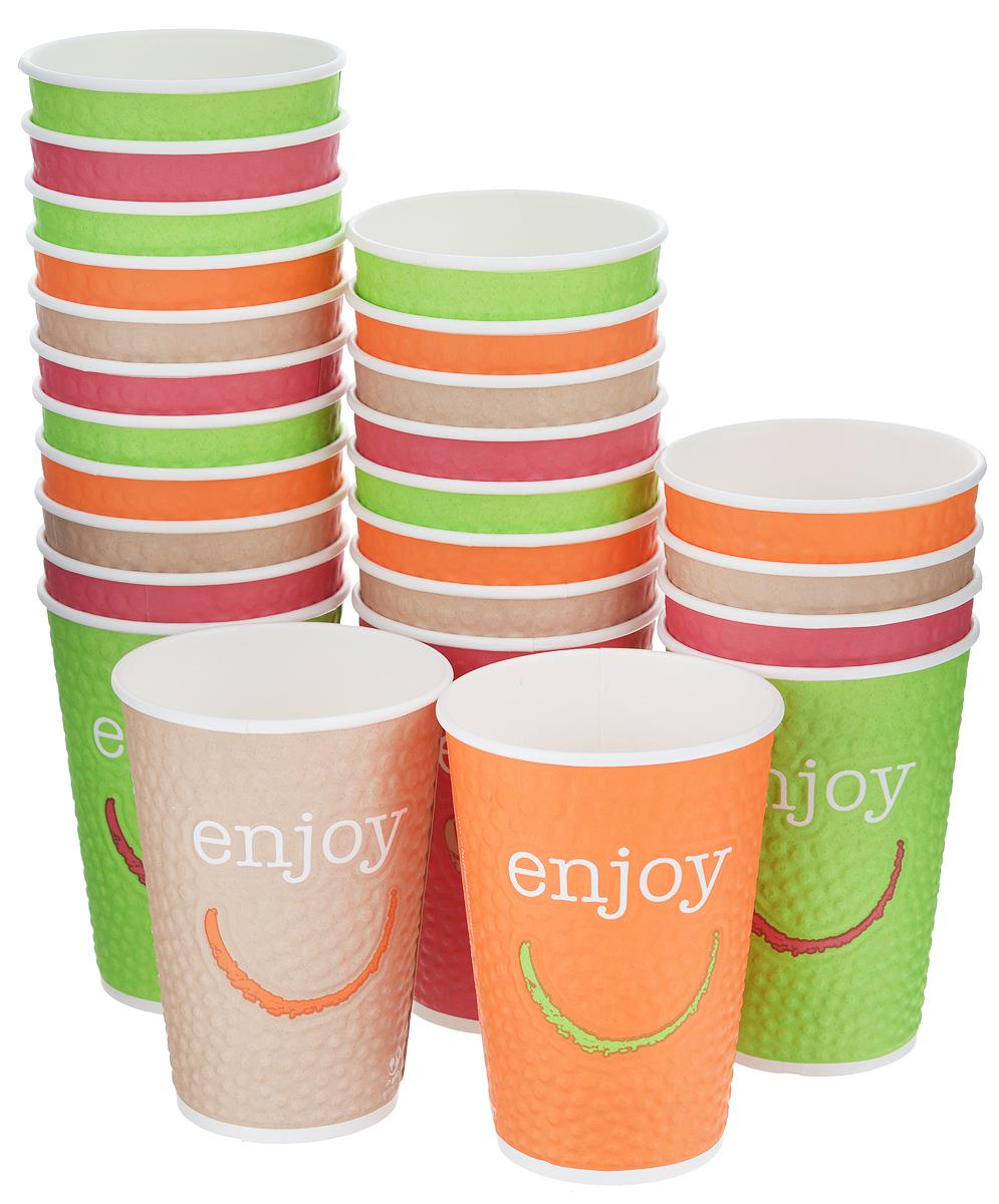 Набор одноразовых стаканов Huhtamaki Enjoy, бумажные, 400 мл, 25 штПОС29287Одноразовые стаканы Huhtamaki Enjoy изготовлены из двуслойной плотной бумаги с внутренней ламинацией. Они отлично подойдут для кофе, какао, шоколада и других горячих и холодных напитков. Несмотря на то, что стаканы бумажные, они очень прочные и не промокают. Диаметр стакана (по верхнему краю): 8,5 см. Высота стакана: 12,5 см.