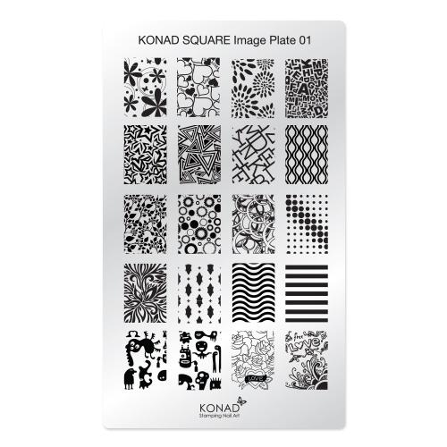 Konad Square Пластина для степинга Square Image Plate01002722Плитка для степинга. Больше узоров, больше творчества. Нанести лак на диск для стемпинга, убрать излишки скрапером, отпечатать на штамп и перенести на ноготь.