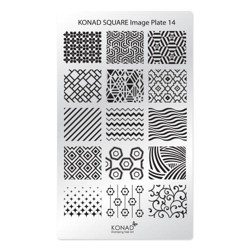 Konad Square Пластина для степинга Square Image Plate14SN-SIP14Плитка для стемпинга. Больше узоров, больше творчества. Нанести лак на диск для стемпинга, убрать излишки скрапером, отпечатать на штамп и перенести на ноготь.