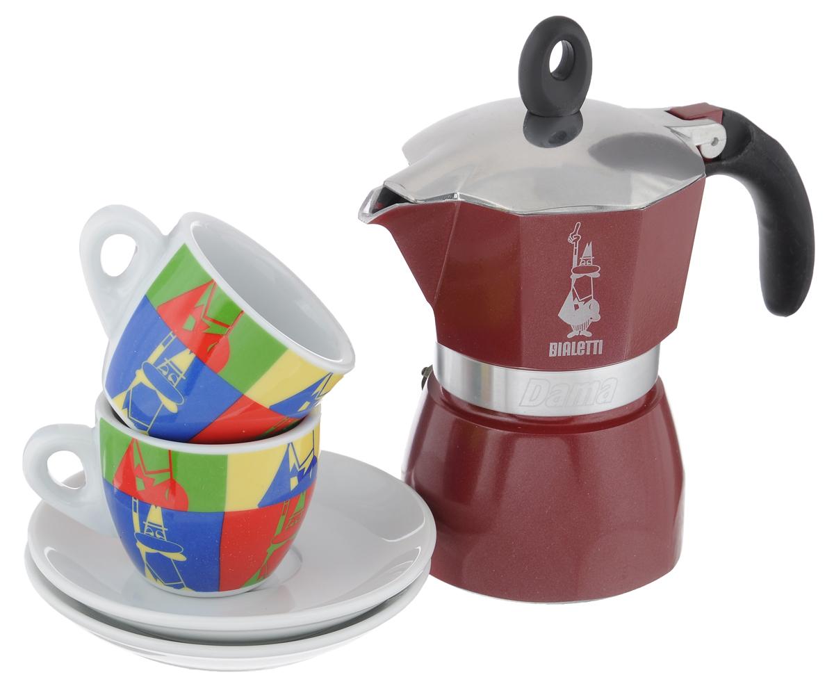 Набор посуды Bialetti Dama Glamour, 5 предметов5330Набор Bialetti Dama Glamour включает в себя гейзерную кофеварку, 2 кофейные чашки и 2 блюдца. Компактная гейзерная кофеварка изготовлена из высококачественного алюминия. Изделие оснащено удобной ручкой из пластика. Остальные предметы набора выполнены из керамики. Принцип работы такой гейзерной кофеварки - кофе заваривается путем многократного прохождения горячей воды или пара через слой молотого кофе. Удобство кофеварки в том, что вся кофейная гуща остается во внутренней емкости. Кофе получается крепкий и насыщенный. Подходит для газовых, электрических и стеклокерамических плит. Нельзя мыть в посудомоечной машине. Высота кофеварки: 17 см. Диаметр дна кофеварки: 8 см. Диаметр чашек по верхнему краю: 6,2 см. Диаметр дна кружек: 3,5 см. Высота кружек: 5,2 см. Диаметр блюдец: 12 см.