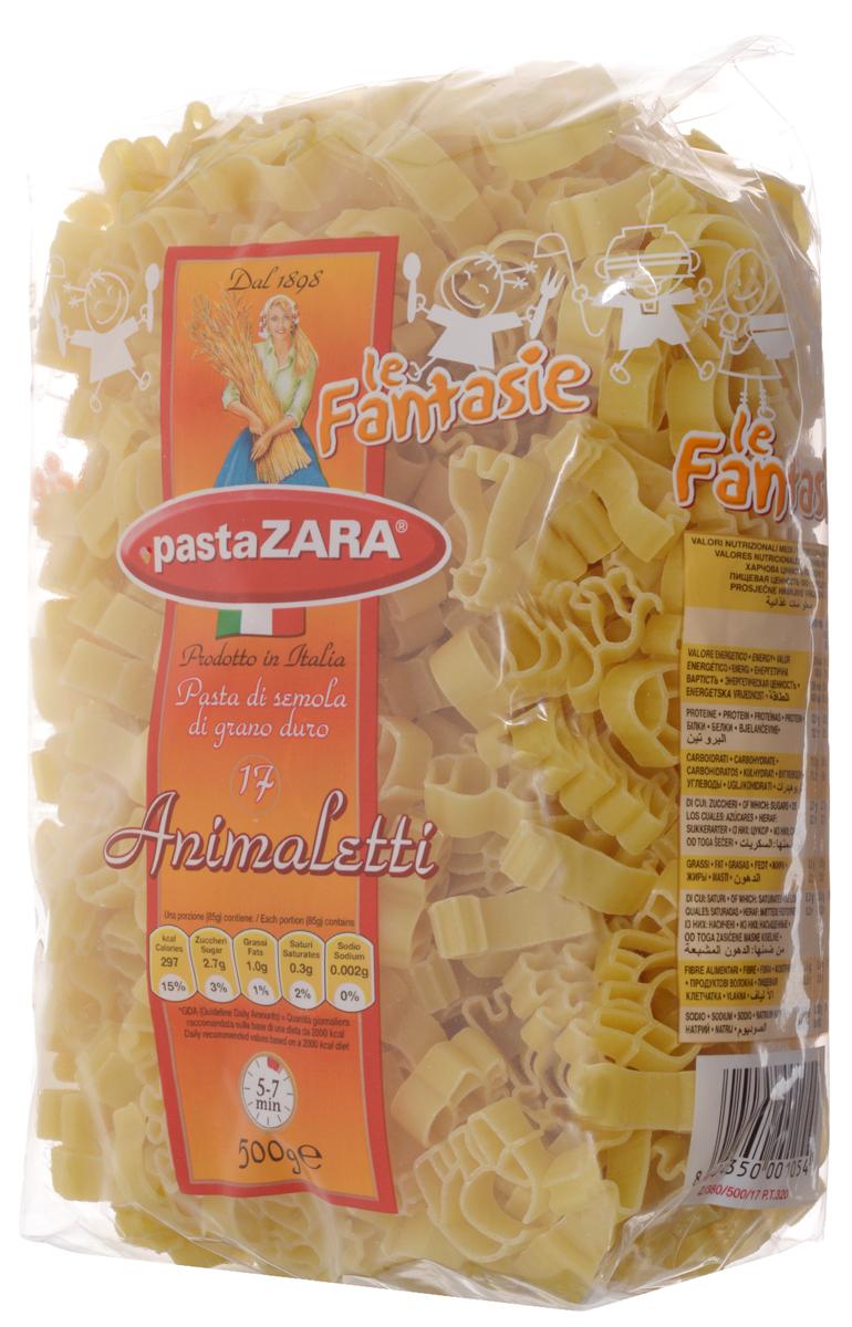 Pasta Zara Фантазия Зверьки макароны, 500 г 8004350001054