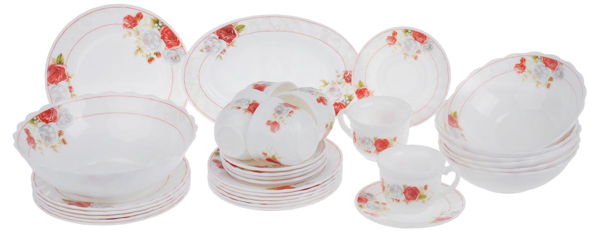 Набор столовой посуды Chinbull Классик, 32 предметаW-32I/6627Набор Chinbull Классик состоит из 6 обеденных тарелок, 6 десертных тарелок, 6 суповых тарелок, 6 чашек, 6 блюдец, салатника и овального блюда. Изделия выполнены из высококачественной стеклокерамики и декорированы изящным рисунком цветов. Посуда отличается прочностью, гигиеничностью и долгим сроком службы, она устойчива к появлению царапин и резким перепадам температур. Такой набор прекрасно подойдет как для повседневного использования, так и для праздников. Набор столовой посуды Chinbull Классик- это не только яркий и полезный подарок для родных и близких, а также великолепное дизайнерское решение для вашей кухни или столовой. Можно мыть в посудомоечной машине и использовать в микроволновой печи. Диаметр обеденной тарелки (по верхнему краю): 20 см. Высота обеденной тарелки: 2 см. Диаметр десертной тарелки (по верхнему краю): 17,5 см. Высота десертной тарелки: 1,6 см. Диаметр суповой тарелки (по верхнему краю): 17,5...