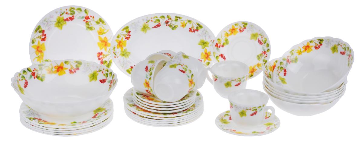 Набор столовой посуды Chinbull Оттавиа, 32 предметаW-32I/6728Набор Chinbull Оттавиа состоит из 6 обеденных тарелок, 6 десертных тарелок, 6 суповых тарелок, 6 чашек, 6 блюдец, салатника и овального блюда. Изделия выполнены из высококачественной стеклокерамики и декорированы красочным изображением цветов и ягод. Посуда отличается прочностью, гигиеничностью и долгим сроком службы, она устойчива к появлению царапин и резким перепадам температур. Такой набор прекрасно подойдет как для повседневного использования, так и для праздников. Набор столовой посуды Chinbull Оттавиа- это не только яркий и полезный подарок для родных и близких, а также великолепное дизайнерское решение для вашей кухни или столовой. Можно мыть в посудомоечной машине и использовать в микроволновой печи. Диаметр обеденной тарелки (по верхнему краю): 20 см. Высота обеденной тарелки: 1,8 см. Диаметр десертной тарелки (по верхнему краю): 17,5 см. Высота десертной тарелки: 1,8 см. Диаметр суповой тарелки (по верхнему...