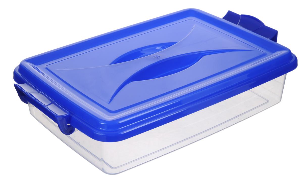 Контейнер Альтернатива, цвет: прозрачный, синий, 4,5 лES-412Контейнер Альтернатива, выполненный из прочного пластика, предназначен для хранения различных мелких вещей. Крышка легко открывается и плотно закрывается. Прозрачные стенки позволяют видеть содержимое. По бокам предусмотрены две удобные ручки, с помощью которых контейнер закрывается.Контейнер поможет хранить все в одном месте, а также защитить вещи от пыли, грязи и влаги.Размер контейнера (с учетом ручек): 36,5 см х 23,5 см х 9 см.