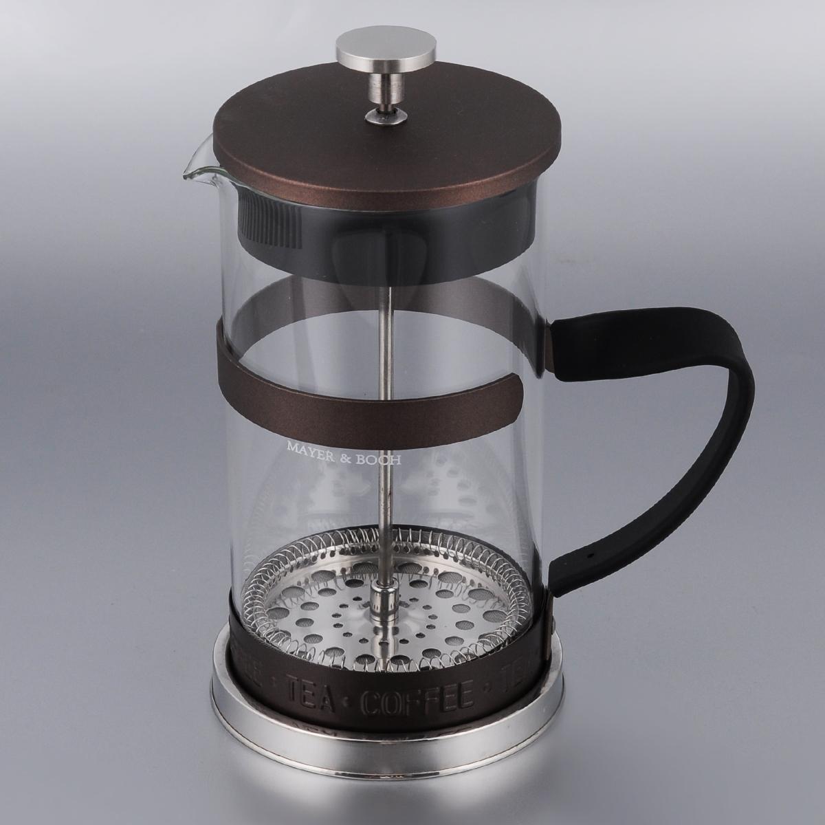 Френч-пресс Mayer & Boch, цвет: прозрачный, коричневый, 1 л24915_коричневыйФренч-пресс Mayer & Boch изготовлен из высококачественной нержавеющей стали и жаропрочного стекла. Фильтр-поршень оснащен ситечком для обеспечения равномерной циркуляции воды. Засыпая чайную заварку или кофе под фильтр, заливая горячей водой, вы получаете ароматный напиток с оптимальной крепостью и насыщенностью. Остановить процесс заваривания легко, для этого нужно просто опустить поршень, и все уйдет вниз, оставляя вверху напиток, готовый к употреблению. Изделие оснащено эргономичной прорезиненной ручкой, она обеспечит безопасный и удобный хват. Такой френч-пресс позволит быстро и просто приготовить свежий и ароматный кофе или чай. Можно мыть в посудомоечной машине. Не использовать в микроволновой печи. Диаметр колбы (по верхнему краю): 9,5 см. Высота френч-пресса (без учета крышки): 18,5 см. Высота френч-пресса (с учетом крышки): 21,5 см. Объем френч-пресса: 1 л.