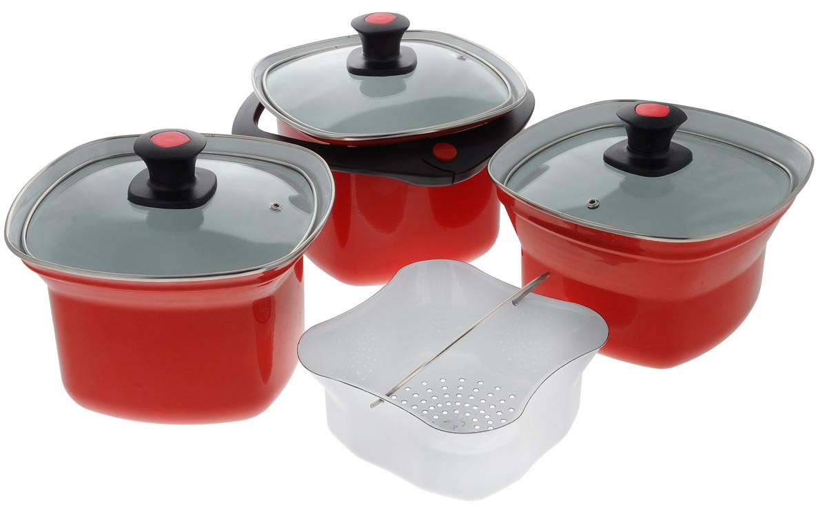 Набор эмалированной посуды Elros Квадро, цвет: красный, 8 предметовCM000001328Набор эмалированной посуды Elros Квадро состоит из трех квадратных кастрюль, дуршлага, 3 крышек и универсальной ручки. Кастрюли выполнены из нержавеющей стали с эмалевым покрытием. Прочность эмалированного покрытия позволяет легко мыть посуду. Такое покрытие инертно и устойчиво к пищевым кислотам, не вступает во взаимодействие с продуктами и не искажает их вкусовые свойства. Не вызывает аллергических реакций. Крышки изготовлены из жаропрочного стекла, а ручка - из прочного пластика. Многофункциональность набор позволяет использовать его как пароварку, водяную баню или термос. Для приготовления на пару установите дуршлаг, заполненный продуктами, на кастрюлю с кипящей водой и закройте крышкой. Плюсы такого способа приготовления пищи очевидны: продукты сохраняют свой натуральный цвет, запах, форму и вкус, микроэлементы и витамины, содержащиеся в сыром виде. Для приготовления каш, омлетов, соусов, пудингов используйте водяную баню. Поставьте одну кастрюлю на другую, большую из них наполните водой, а в меньшую положите продукты. В результате нагревания большей кастрюли происходит нагревание продуктов в меньшей кастрюле. При этом приготовление блюда происходит равномерно, а температура нагревания не превышает 100°С. Используйте функцию термоса, когда вам необходимо сохранить блюдо теплым. Поставьте одну кастрюлю на другую, в большую кастрюлю налейте необходимое количество горячей воды (около 100°С), а в меньшую кастрюлю поместите ваше блюдо и закройте крышкой. Аналогично можно сохранить холодным молоко или окрошку, применяя лед или холодную воду. В комплекте предусмотрена пластиковая ручка. Ручка надежно фиксируется на кастрюле 4,5 л, а для кастрюль 2,5 и 3,5 л ручка используется для переноски с места на место. Диапазон открывания ручки регулируется двумя пластмассовыми вставками в узле разъема. Для компактного хранения предметы складываются друг в друга, что обеспечивает экономию пространства. 
