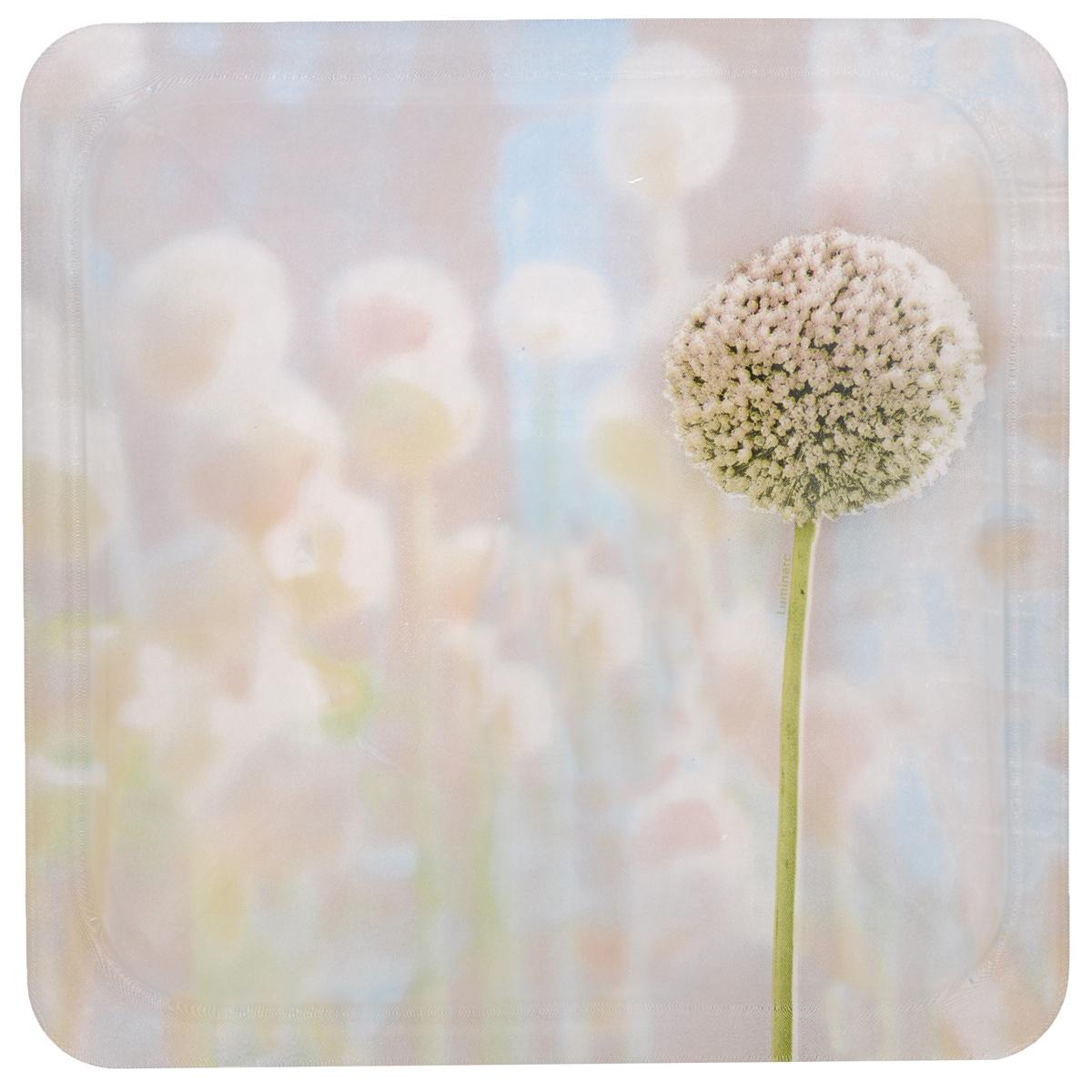 Тарелка Luminarc Eternal Spring, 25 см х 25 смH7255Тарелка Luminarc Eternal Spring, декорированная нежным цветочным рисунком, изготовлена из высококачественного ударопрочного стекла. Изделие устойчиво к повреждениям и истиранию, в процессе эксплуатации не впитывает запахи и сохраняет первоначальные краски. Посуда Luminarc обладает не только высокими техническими характеристиками, но и красивым эстетичным дизайном. Luminarc - это современная, красивая, практичная столовая посуда. Такая тарелка идеально подходит для красивой сервировки закусок и нарезок. Можно использовать в СВЧ и мыть в посудомоечной машине.