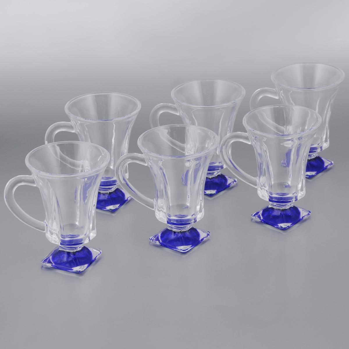 Набор стаканов для глинтвейна Mayer & Boch Loraine, цвет: прозрачный, синий, 150 мл, 6 шт20220_синийНабор Mayer & Boch Loraine состоит из шести стаканов, выполненных из прочного стекла. Предметы набора имеют цветную ножку и декорированы рельефом. Они излучают приятный блеск и издают мелодичный звон. Для удобства изделия оснащены изящной ручкой. Набор Mayer & Boch Loraine прекрасно оформит интерьер кабинета или гостиной и станет отличным дополнением бара. Такой набор также станет хорошим подарком к любому случаю. Диаметр стакана (по верхнему краю): 8 см. Высота стакана: 11 см.