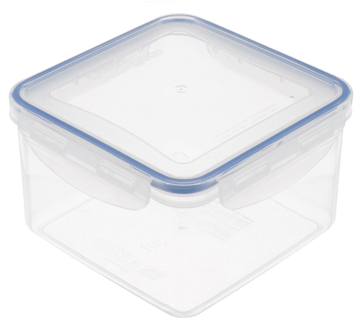 Контейнер Good&Good, цвет: прозрачный, синий, 1,25 лS2-2Квадратный контейнер Good&Good изготовлен из высококачественного полипропилена и предназначен для хранения любых пищевых продуктов. Благодаря особым технологиям изготовления, лотки в течении времени службы не меняют цвет и не пропитываются запахами. Крышка с силиконовой вставкой герметично защелкивается специальным механизмом. Контейнер Good&Good удобен для ежедневного использования в быту. Можно мыть в посудомоечной машине. Размер контейнера (с учетом крышки): 15 см х 15 см х 9,5 см.