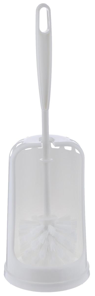 Ершик для туалета York Люкс, с подставкой, цвет: белый6402Ершик для туалета York Люкс выполнен из высококачественного полипропилена и полиэтилентерефталат (ПЭТ). Он хранится в специальной пластиковой подставке с нескользящей основой, обеспечивая гигиеничность использования и облегчая уход. Удобная эргономичная ручка предотвращает выскальзывание ершика из руки. Изделие отлично чистит поверхность, а грязь с него легко смывается водой. Общая высота ершика (с учетом подставки): 38,5 см. Длина ершика: 34,5 см. Размер подставки для ершика: 11,5 см х 11,5 см х 19 см.