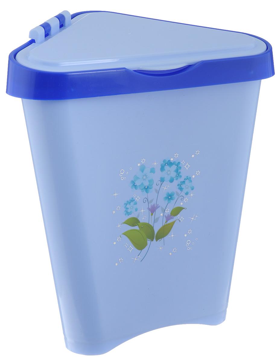 Контейнер для мусора Альтернатива, цвет: голубой, 7 лМ1307_голубойУгловой контейнер для мусора Альтернатива изготовлен из высококачественного цветного пластика и оснащен удобной крышкой, которая открывается одним движением руки и сама закрывается. Изделие украшено цветочным рисунком. Вместительный и компактный контейнер подойдет для дома, дачи, офиса.