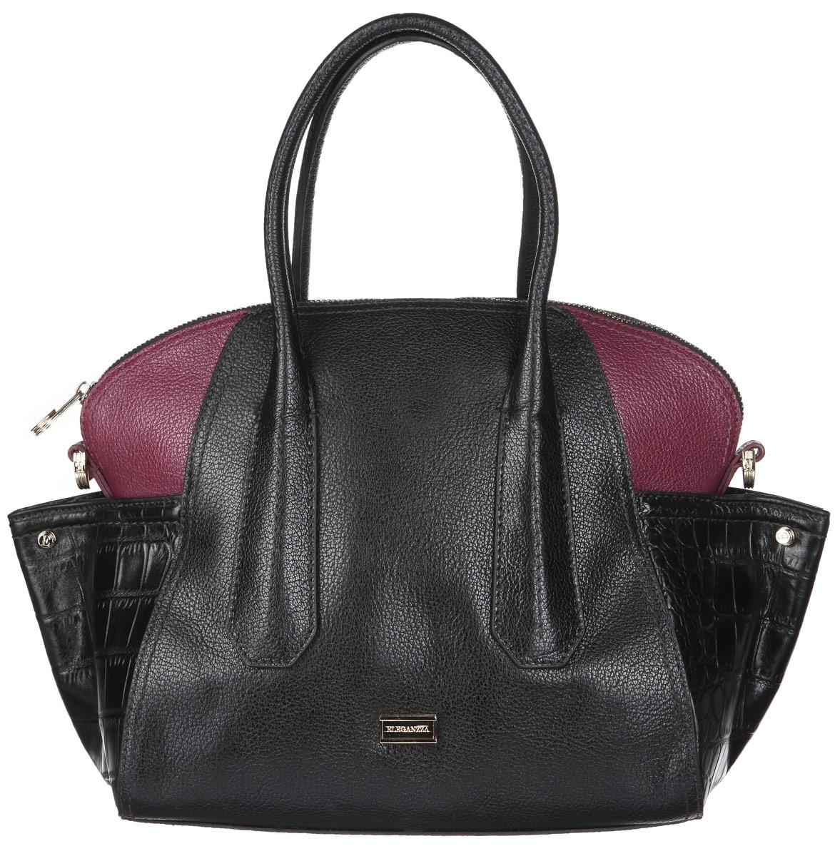 Сумка женская Eleganzza, цвет: черный, бордовый. Z-14243-173298с-1Стильная женская сумка Eleganzza выполнена из натуральной высококачественной кожи с фактурным тиснением и дополнена вставками из кожи под рептилию. Изделие имеет одно основное отделение, закрывающееся на застежку-молнию. Внутри находятся два открытых накладных кармана и прорезной карман на застежке-молнии. Сумка оснащена двумя удобными ручками. В комплект входит съемный плечевой ремень, который регулируется по длине, и фирменный чехол. Основание защищено от повреждений металлическими ножками.Сумка Eleganzza - это стильный аксессуар, который подчеркнет вашу изысканность и индивидуальность и сделает ваш образ завершенным.