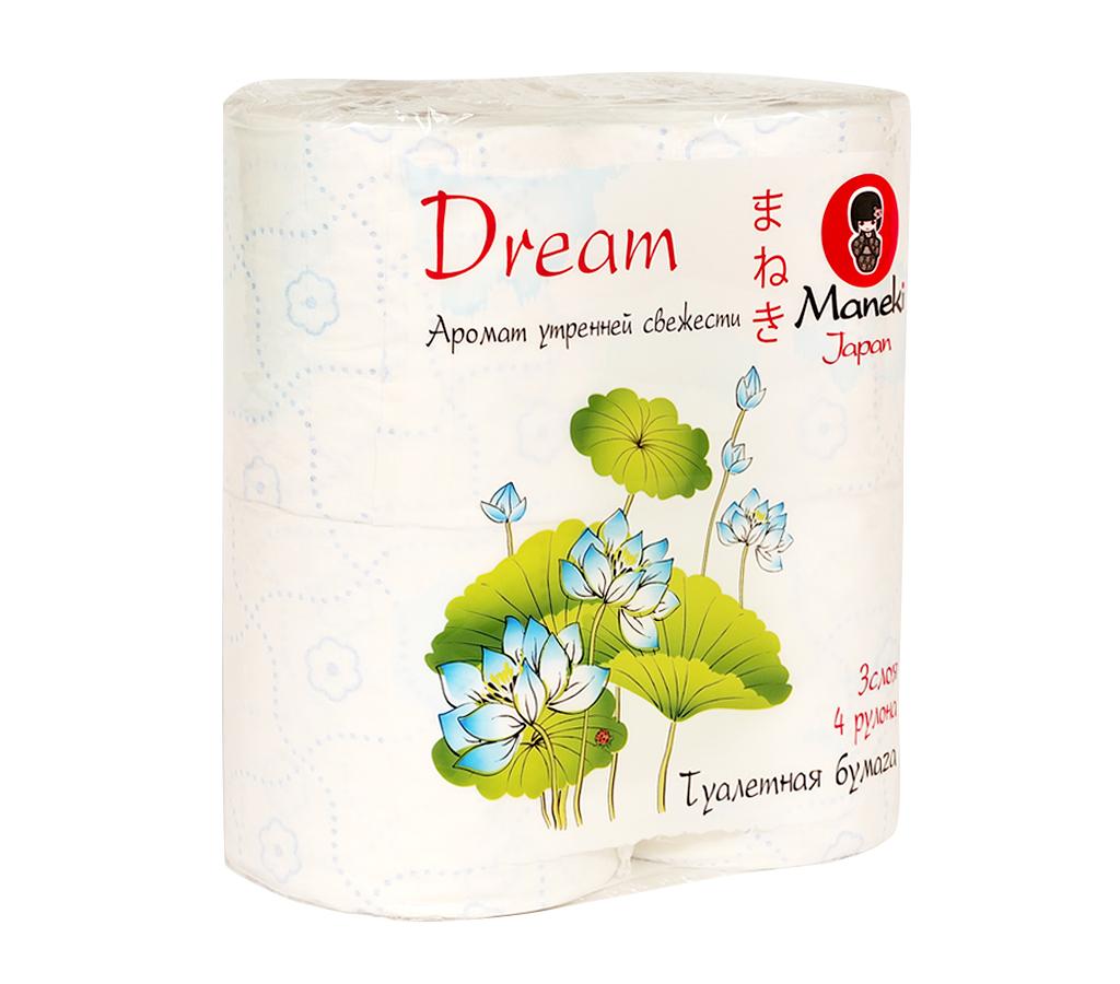 Туалетная бумага Maneki Dream, с ароматом утренней свежести, 3 слоя, 4 рулонаTP074Туалетная бумага Maneki Dream - это экологически чистый продукт, изготовленный из 100% натуральной целлюлозы. Бумага имеет голубое тиснение в виде цветов и аромат утренней свежести. Не содержит флуоресцентных красителей. Отдушка нежно парфюмирована, не вызывает аллергических реакций. Инновационная технология скрепления слоев обеспечивает бумаге шелковистость и непревзойденную нежность. Бумага хорошо растворяется в воде. Аккуратно отрывается по линии перфорации. Длина рулона: 23 м. Количество слоев: 3. Количество листов: 167. Размер листа: 13,8 см х 10 см.