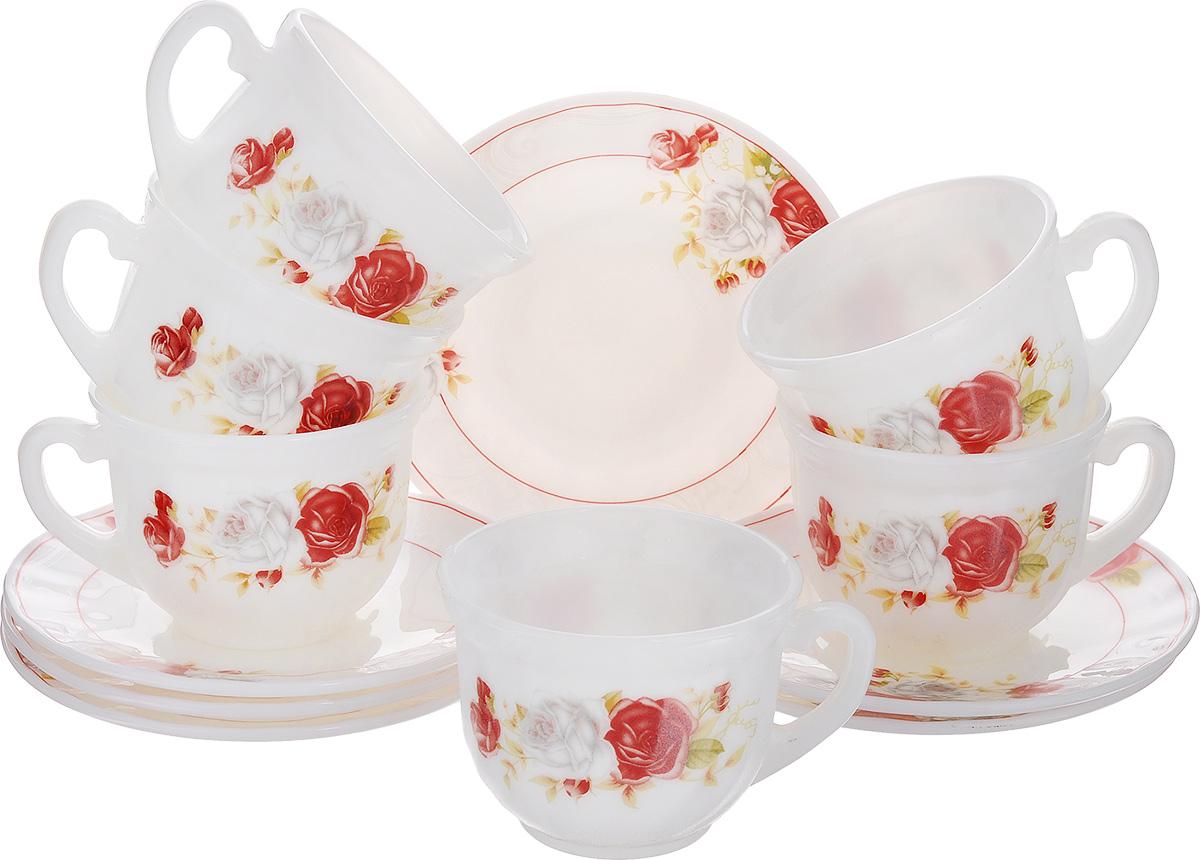 Набор чайный Классик, 12 предметовXWB190-HP55/6627Чайный набор Классик состоит из шести чашек и шести блюдец. Предметы набора изготовлены из высококачественной стеклокерамики и оформлены цветочным рисунком. Изящный дизайн придется по вкусу и ценителям классики, и тем, кто предпочитает утонченность и изысканность. Он настроит на позитивный лад и подарит хорошее настроение с самого утра. Чайный набор - идеальный и необходимый подарок для вашего дома и для ваших друзей в праздники, юбилеи и торжества! Он также станет отличным корпоративным подарком и украшением любой кухни. Можно мыть в посудомоечной машине и использовать в микроволновой печи. Объем чашки: 200 мл. Диаметр чашки (по верхнему краю): 8 см. Высота чашки: 6,5 см. Диаметр блюдца: 13,5 см.