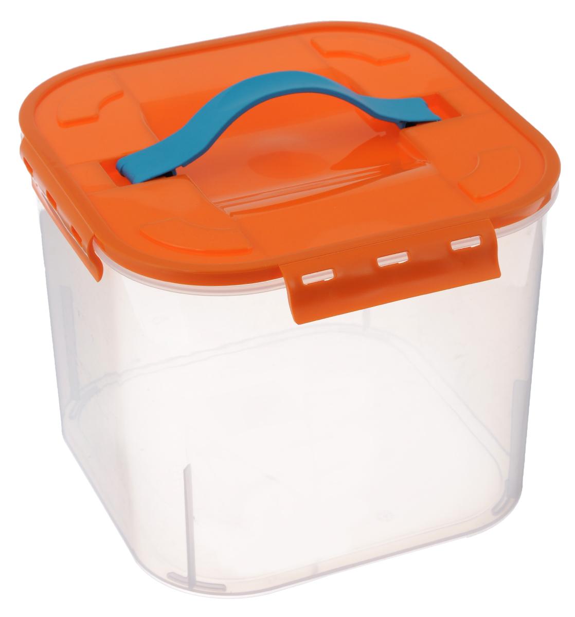 Контейнер для хранения Idea, цвет: оранжевый, прозрачный, 7 лМ 2820Контейнер для хранения Idea выполнен из прочного полипропилена. Он идеально подойдет для хранения пищевых продуктов, а также любых мелких бытовых предметов: канцелярии, принадлежностей для шитья и многого другого. Контейнер плотно закрывается цветной крышкой с 4 защелками. Для удобства переноски сверху имеется ручка, выполненная из термоэластопласта. Контейнер Idea очень вместителен, он пригодится в любом хозяйстве. Материал: полипропилен, термоэластопласт.