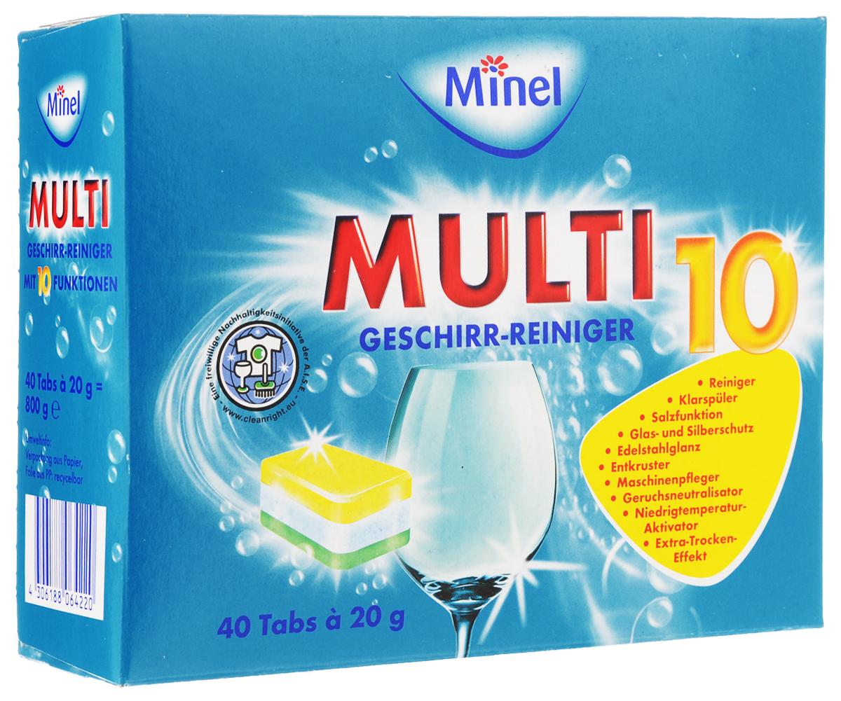 Таблетки для посудомоечной машины Minel Multi 10, 40 х 20 г806422Таблетки для посудомоечной машины Minel Multi 10 многофункциональны: выступают как регенерирующая соль, ополаскиватель, защита стекла, защита нержавеющей и серебряной посуды. Функции: - удаление грязи быстро и надежно, - функция ополаскивателя, - функция Соль, - защита стекла и серебра, - Power-Entkruster: очистка засохших остатков пищи и тяжелых наслоений, - блеск нержавеющей стали, - низкотемпературная система, - нейтрализатор запаха, - растворяет жир, - эффект быстрой сушки. Таблетки содержат добавки, предотвращающие быстрое образование накипи и эффективно удаляющие чайный налет, а также энзимы - биодобавки для активного мытья посуды при температуре 50-55°С. Таблетки защищают вашу посудомоечную машину и продлевают срок ее службы. Состав: до 30% фосфаты, 5-15% отбеливатель на основе кислорода, неионные тензиды, поликарбоксилаты, менее 5% фосфонаты, ароматические вещества, энзимы, метил...
