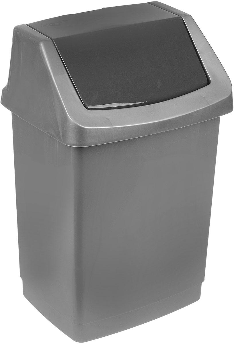 Контейнер для мусора Curver Клик-ит, цвет: серебристый, графитовый, 15 л4043_серебристый / графитовыйКонтейнер для мусора Curver Клик-ит изготовлен из прочного пластика. Контейнер снабжен удобной съемной крышкой с подвижной перегородкой. В нем удобно хранить мелкий мусор. Благодаря лаконичному дизайну такой контейнер идеально впишется в интерьер и дома, и офиса.